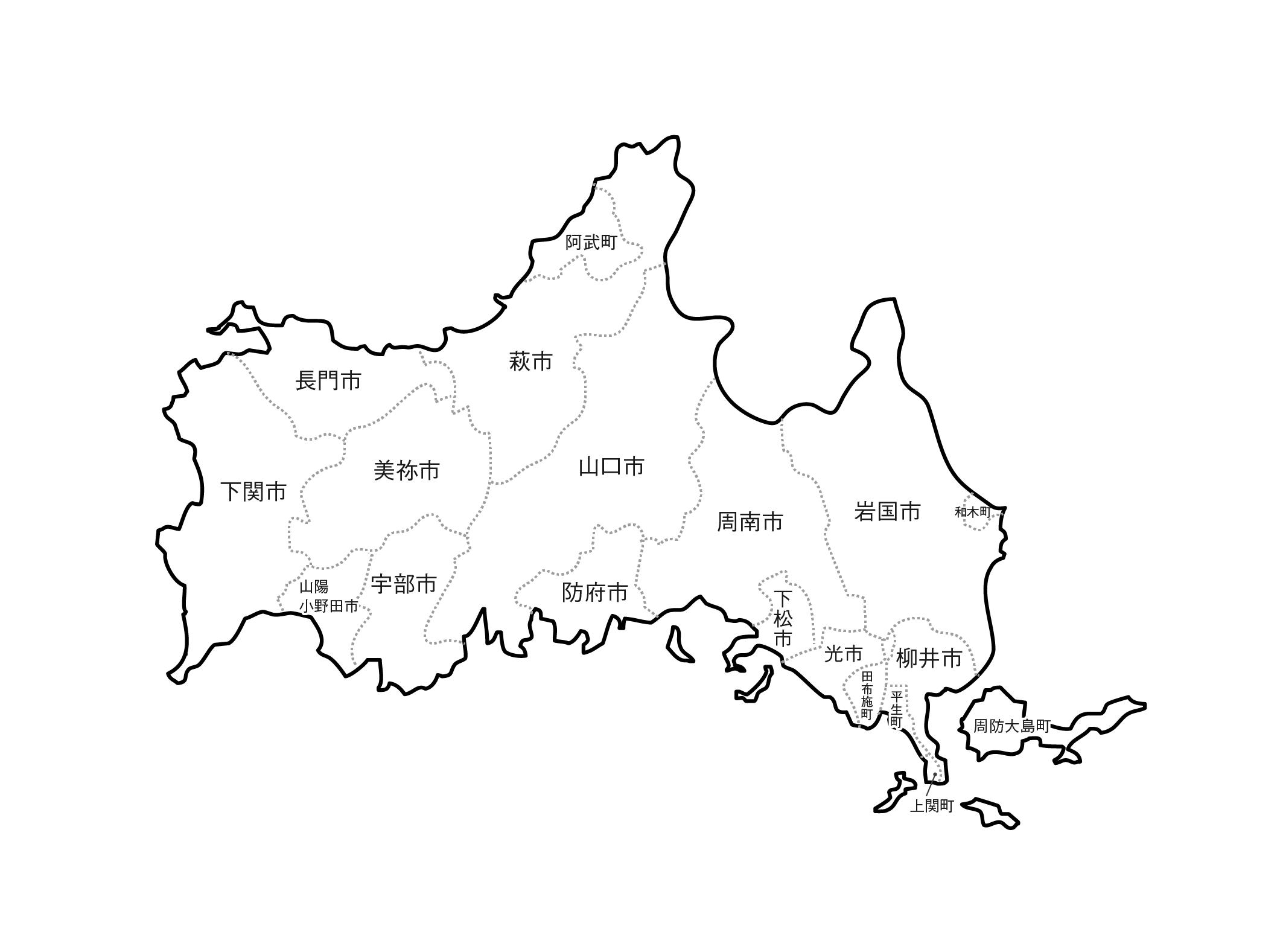 [白地図]山口県・ラインあり・市区町村名あり
