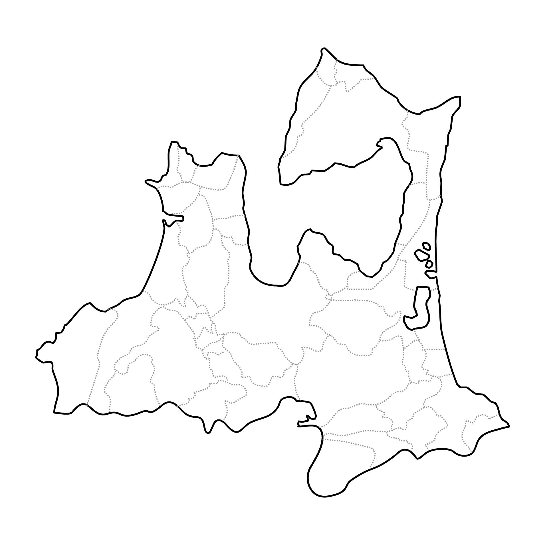 [白地図]青森県・ラインあり・市区町村名なし