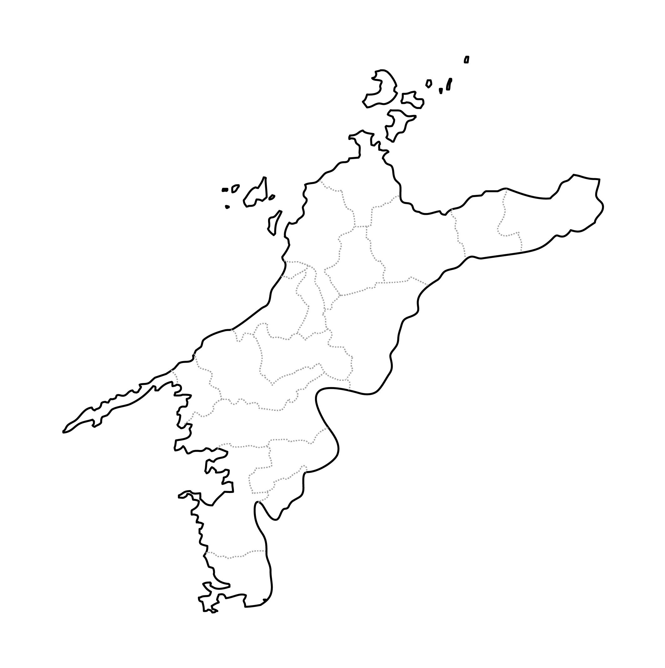 [白地図]愛媛県・ラインあり・市区町村名なし