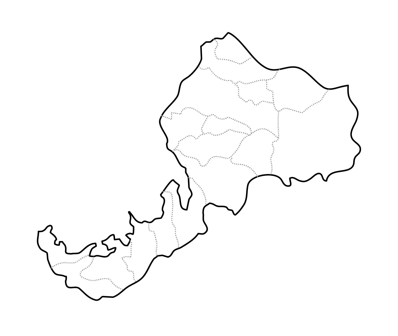 [白地図]福井県・ラインあり・市区町村名なし