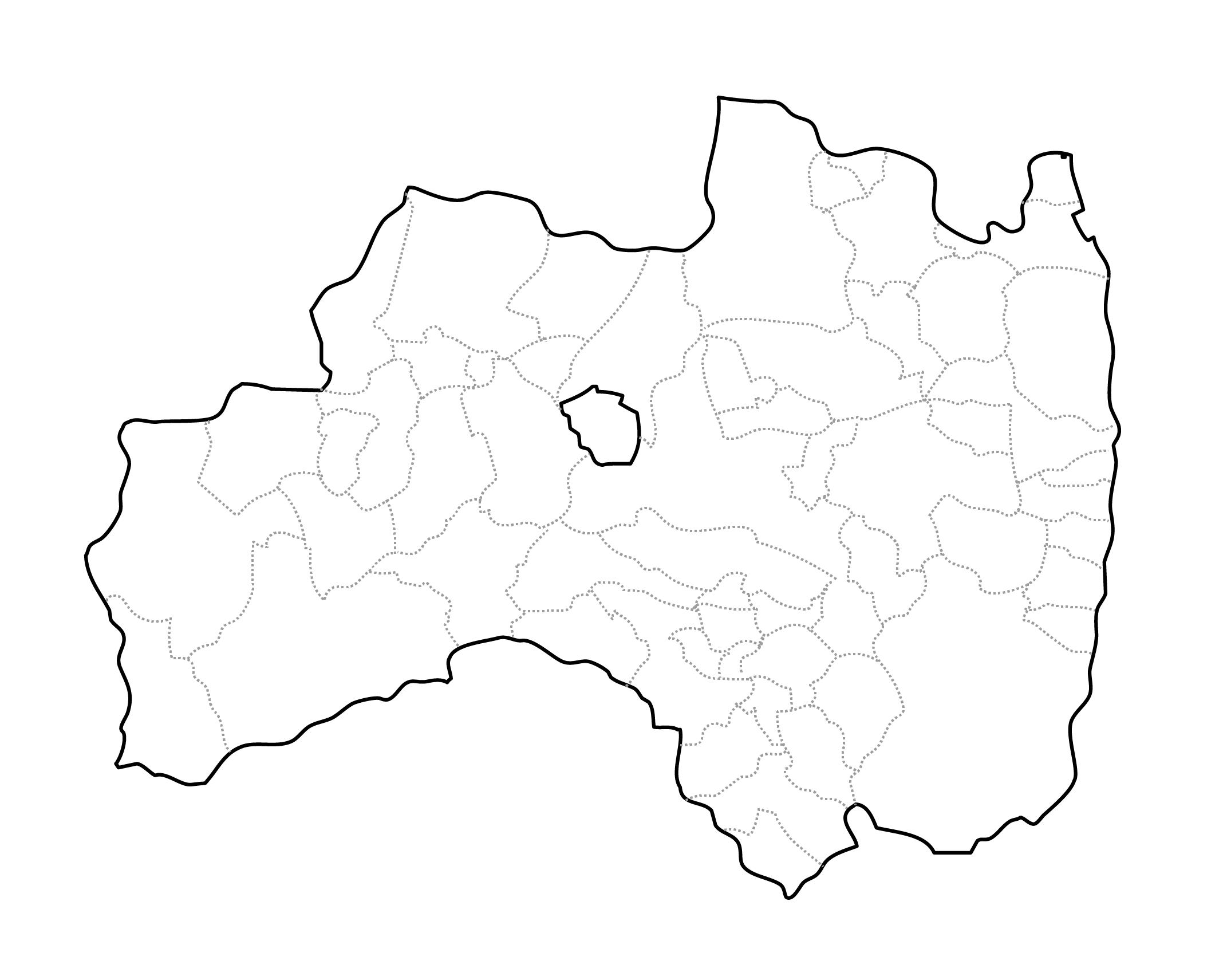 [白地図]福島県・ラインあり・市区町村名なし
