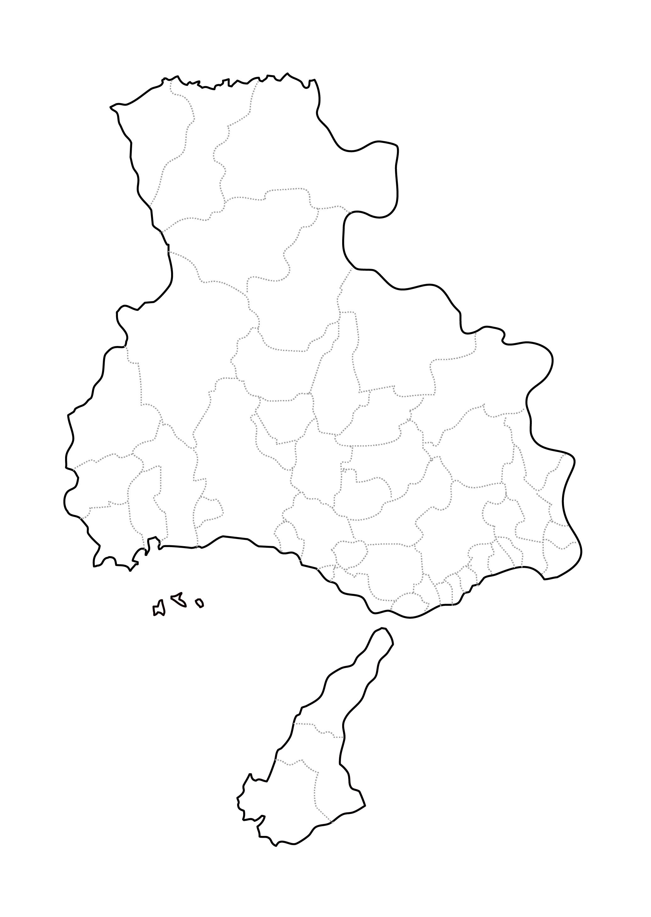 [白地図]兵庫県・ラインあり・市区町村名なし