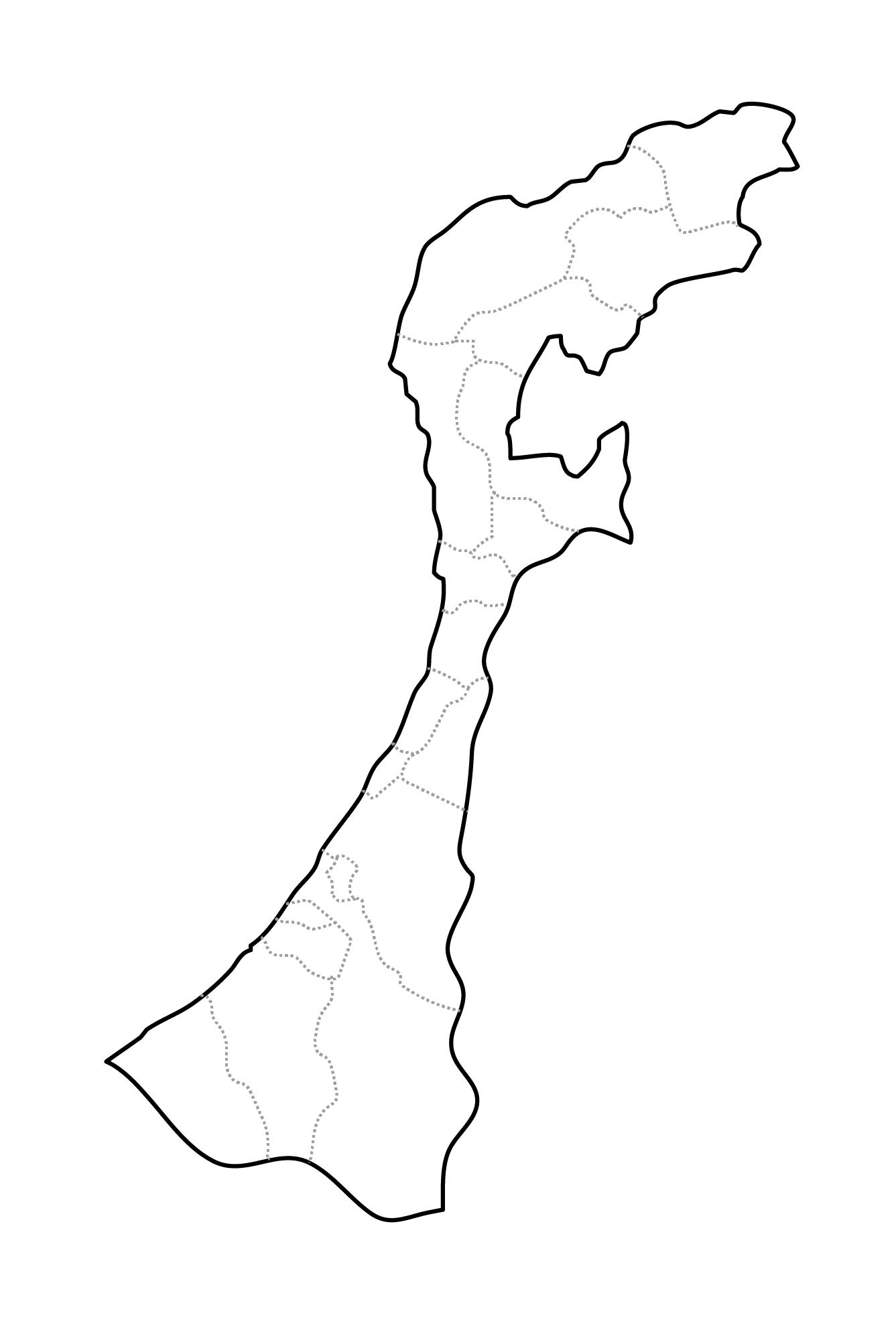 [白地図]石川県・ラインあり・市区町村名なし