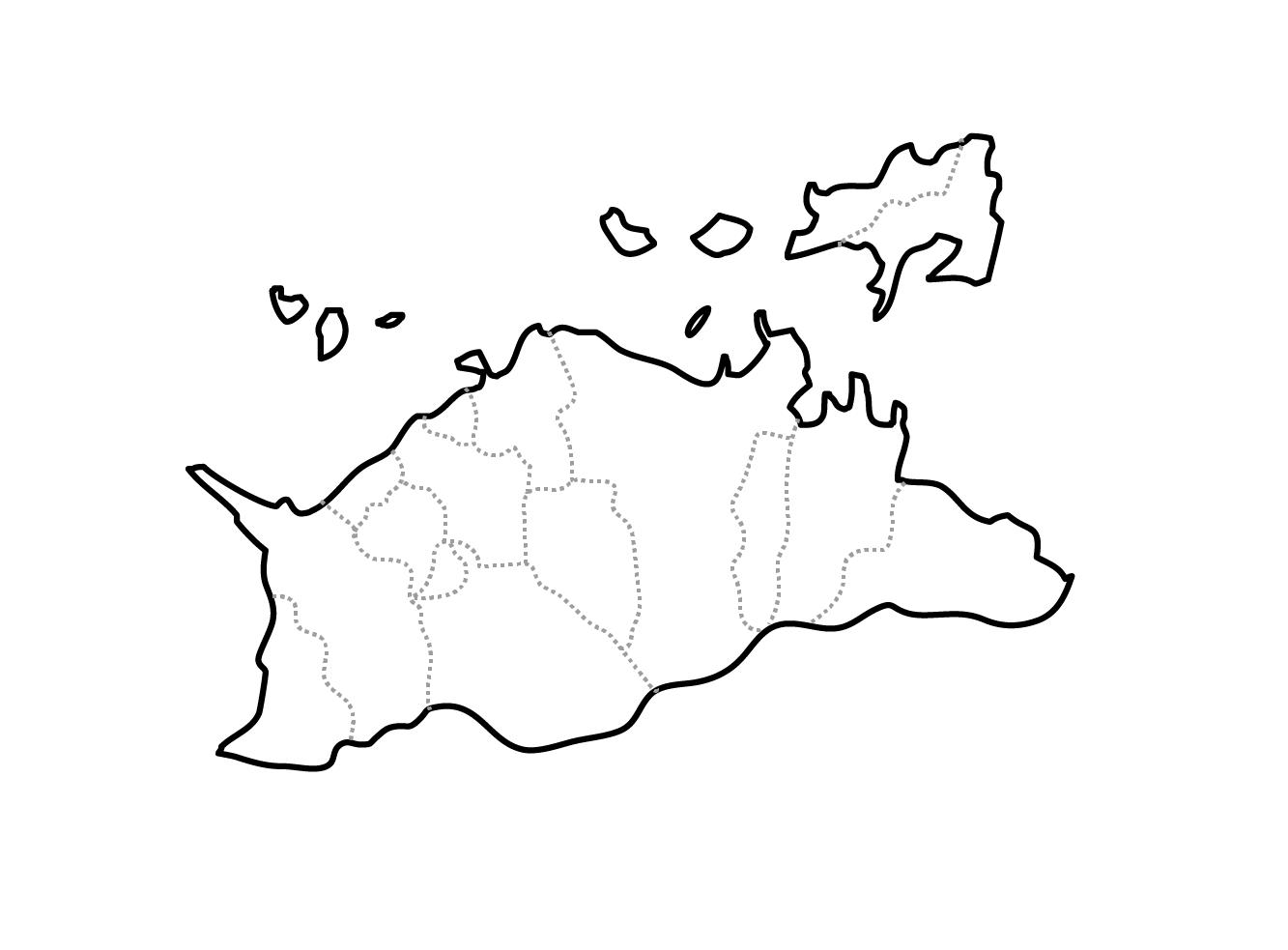 [白地図]香川県・ラインあり・市区町村名なし