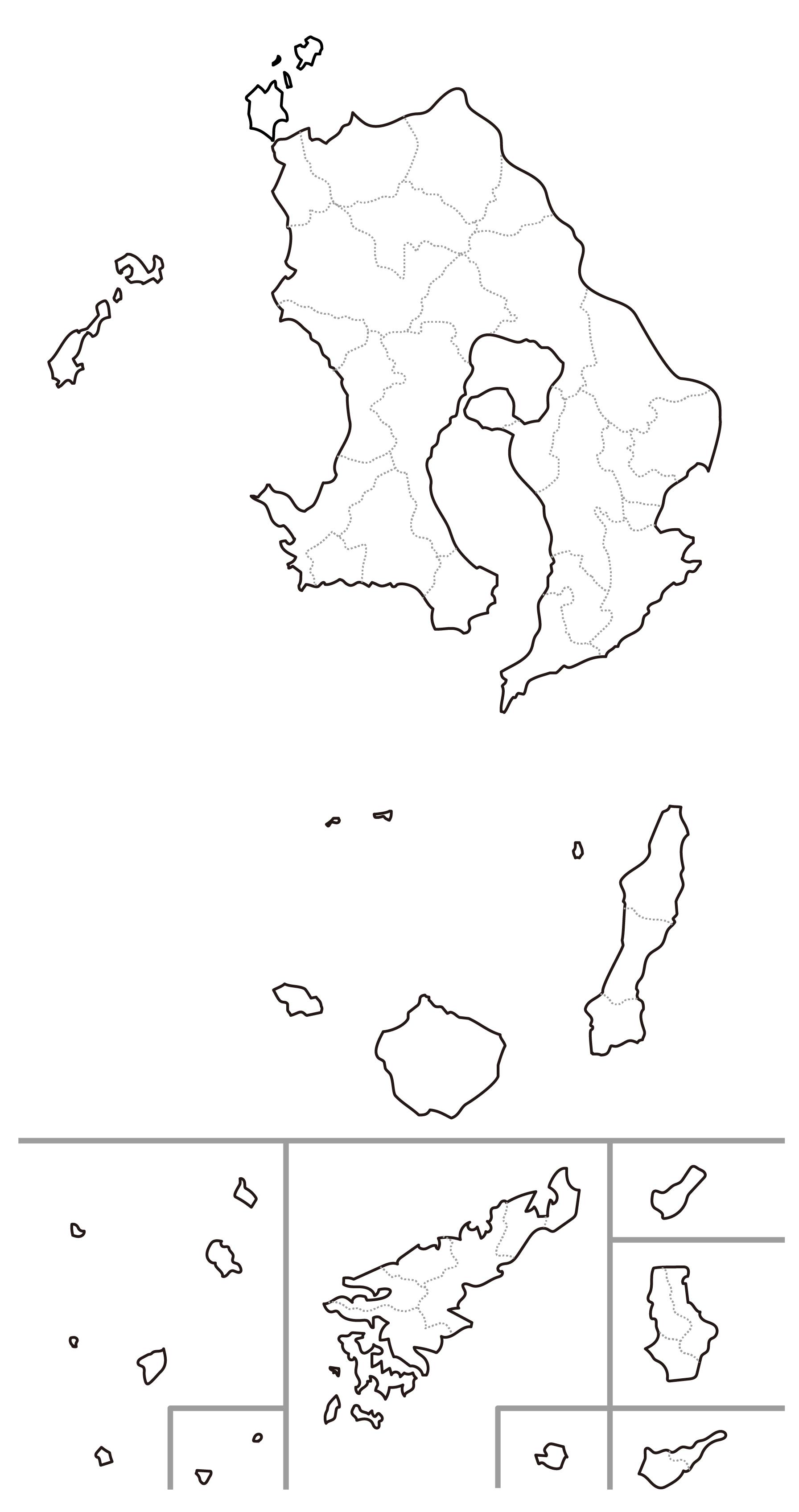 [白地図]鹿児島県・ラインあり・市区町村名なし