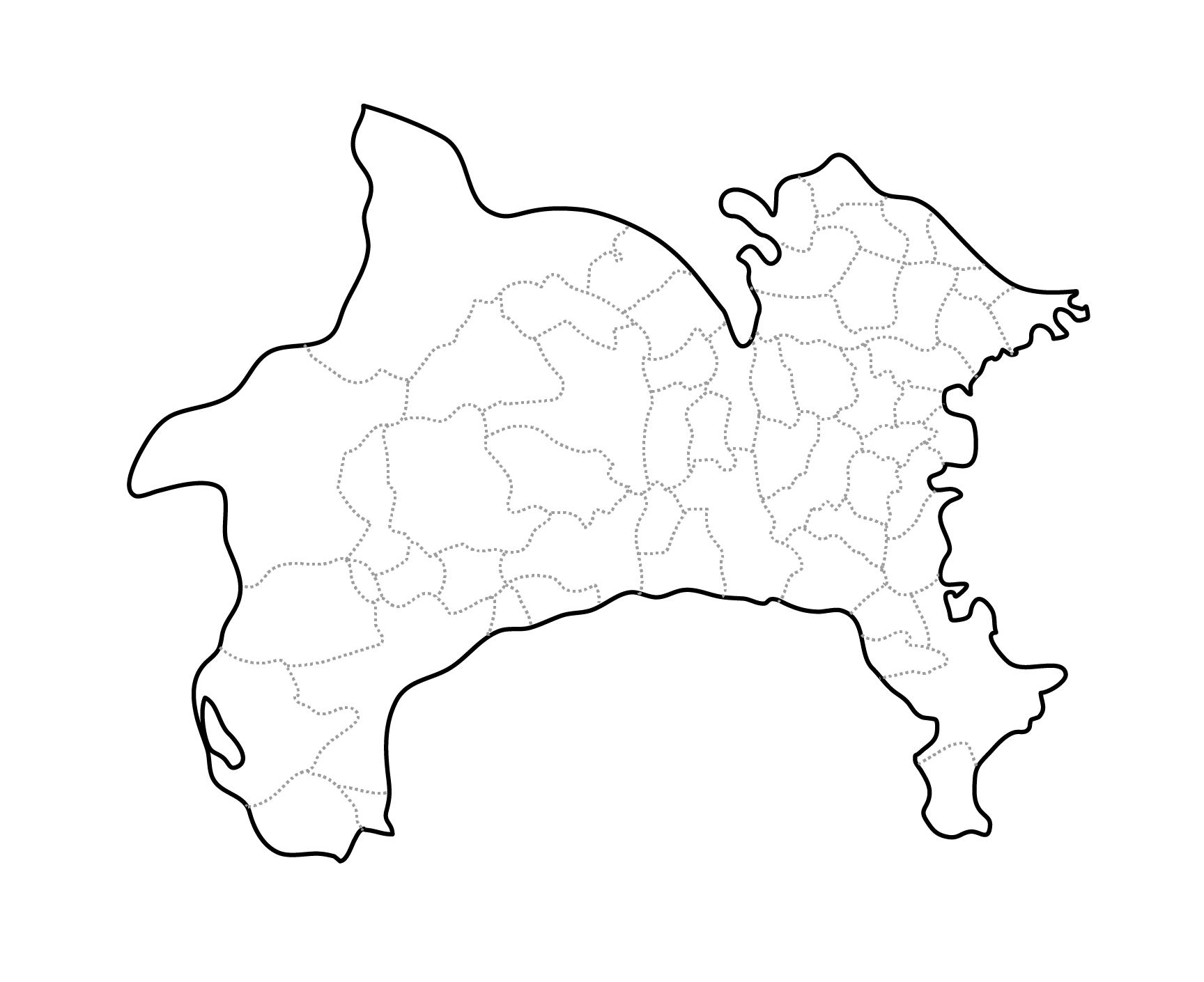 [白地図]神奈川県・ラインあり・市区町村名なし