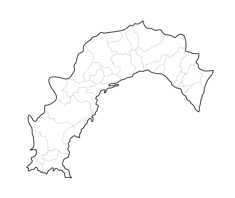 [白地図]高知県・ラインあり・市区町村名なし