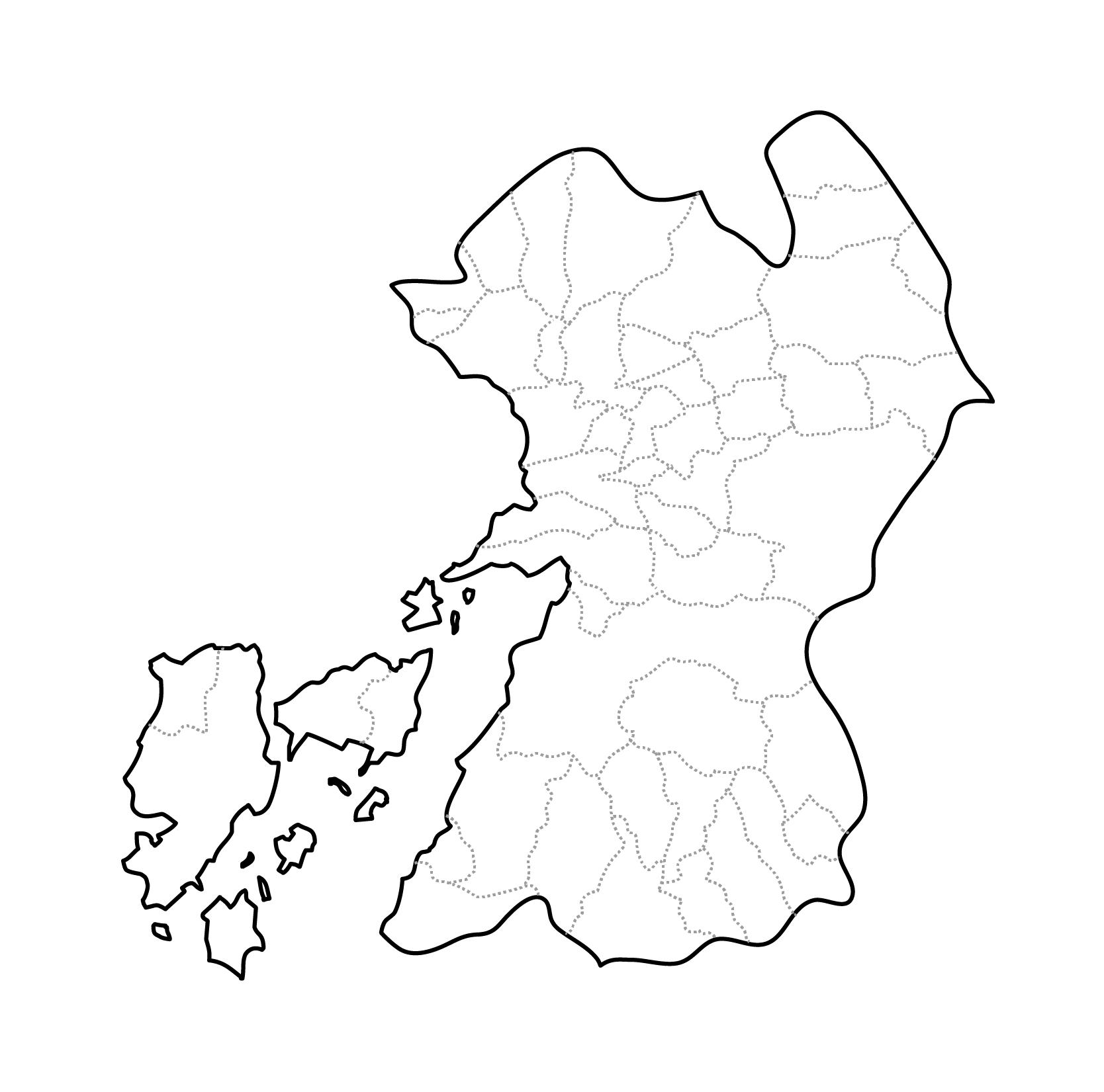 [白地図]熊本県・ラインあり・市区町村名なし