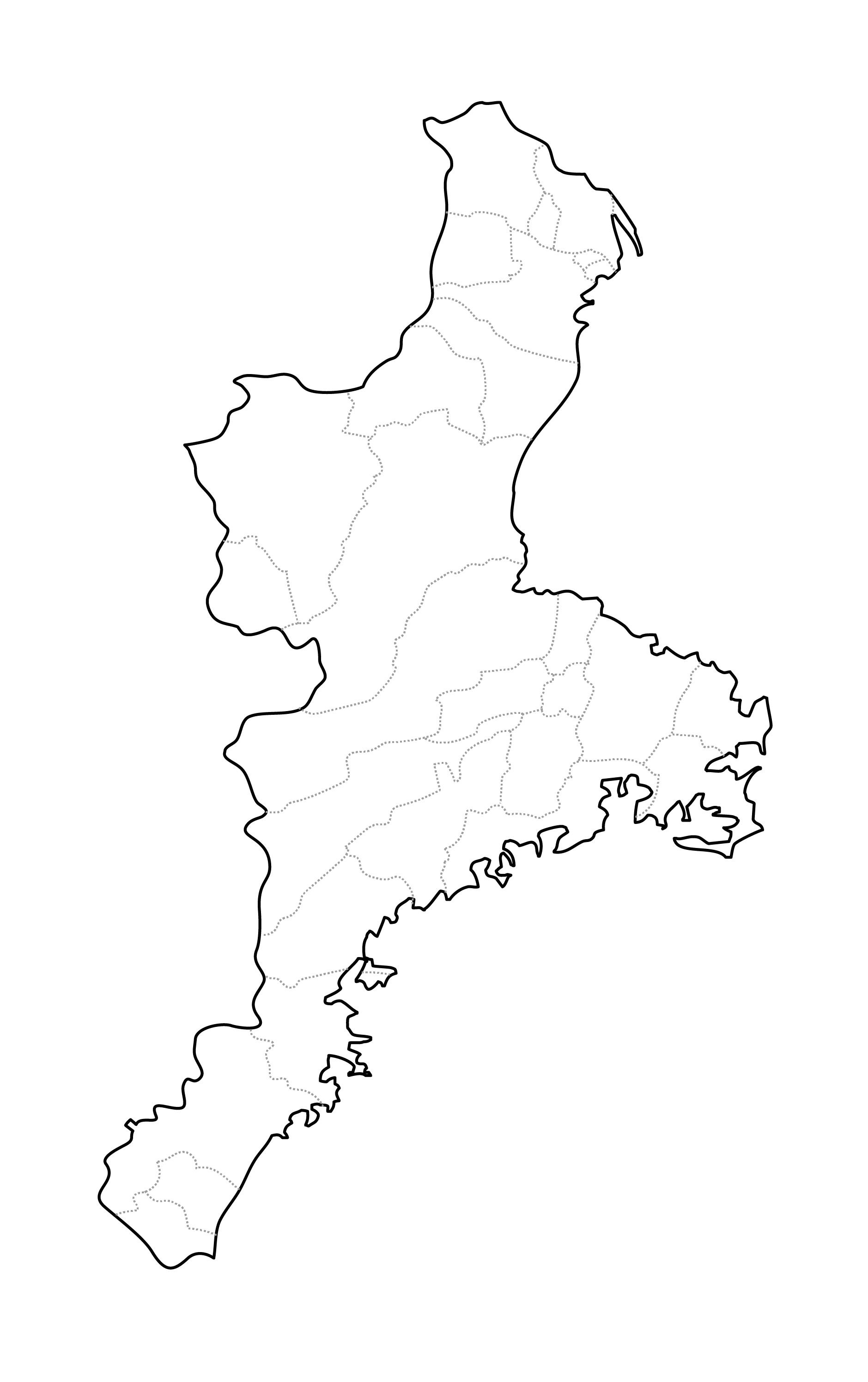 [白地図]三重県・ラインあり・市区町村名なし