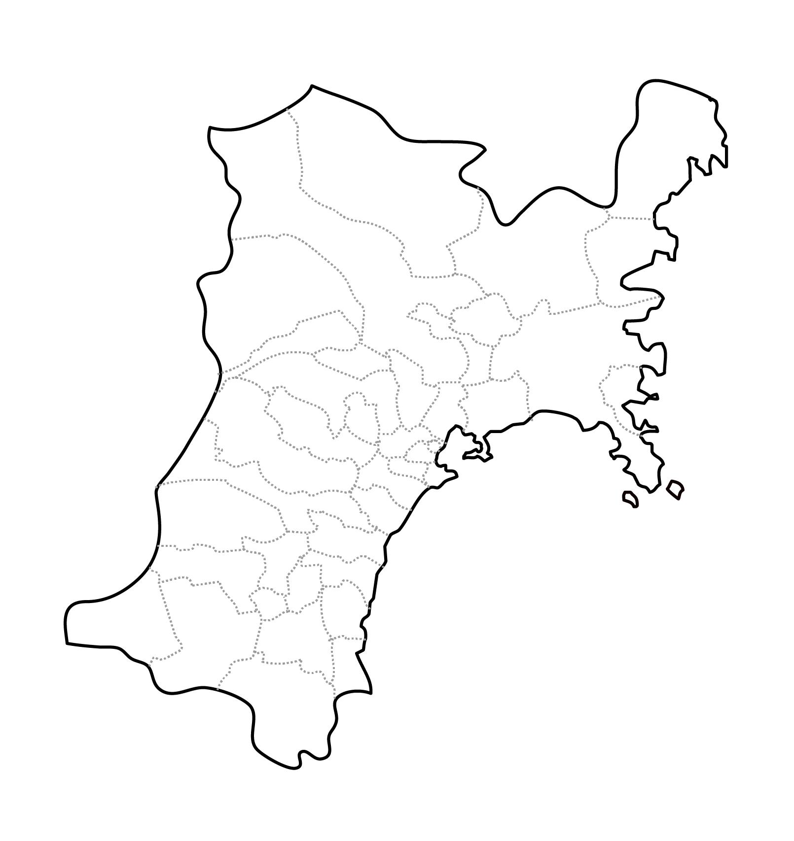[白地図]宮城県・ラインあり・市区町村名なし