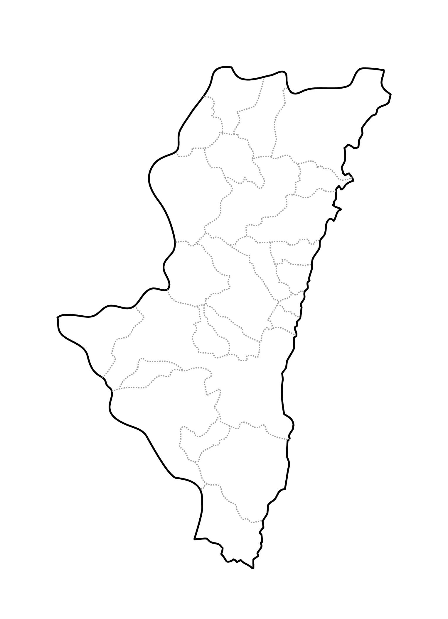 [白地図]宮崎県・ラインあり・市区町村名なし