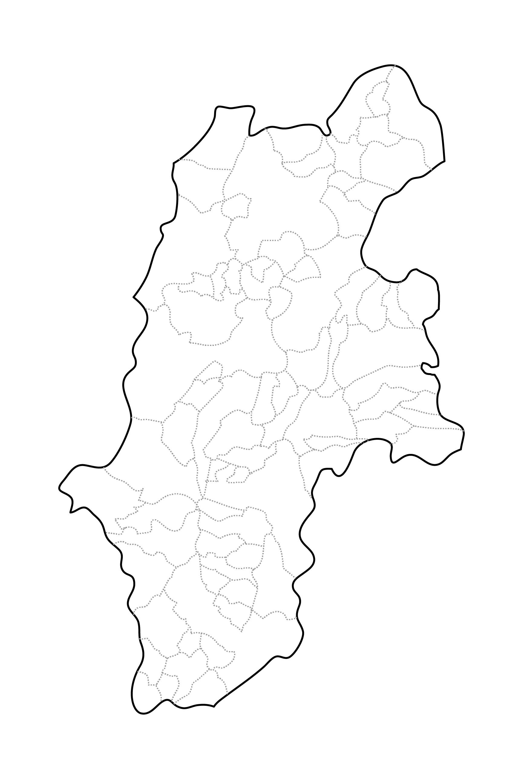 [白地図]長野県・ラインあり・市区町村名なし