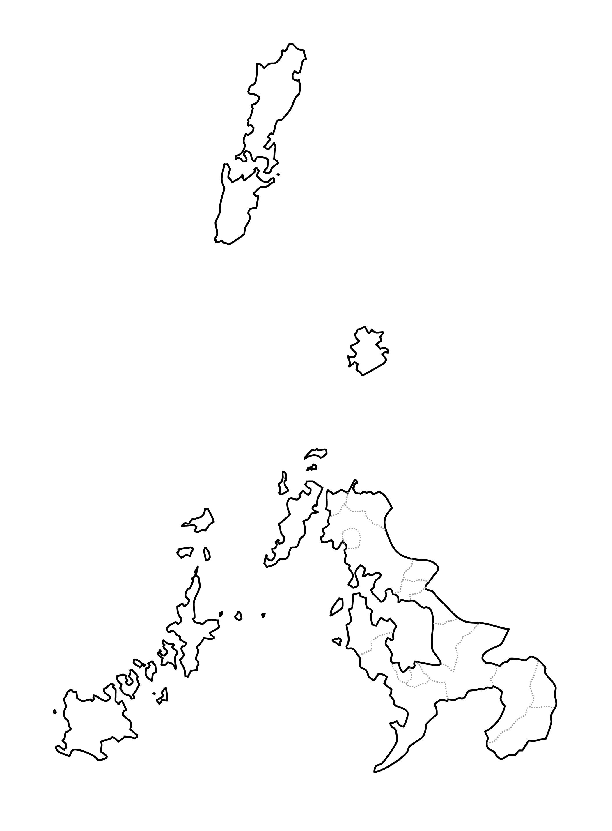 [白地図]長崎県・ラインあり・市区町村名なし