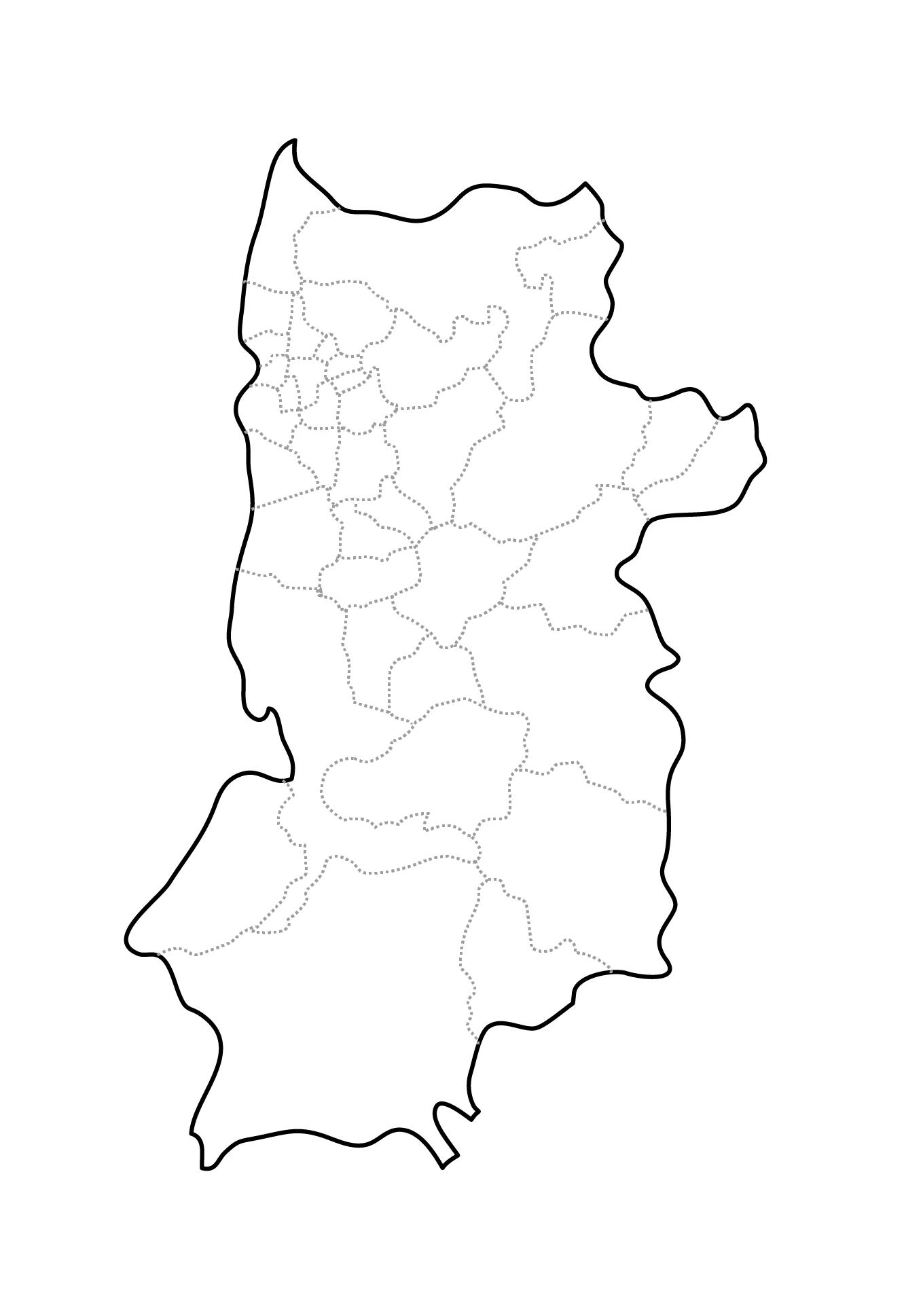 [白地図]奈良県・ラインあり・市区町村名なし