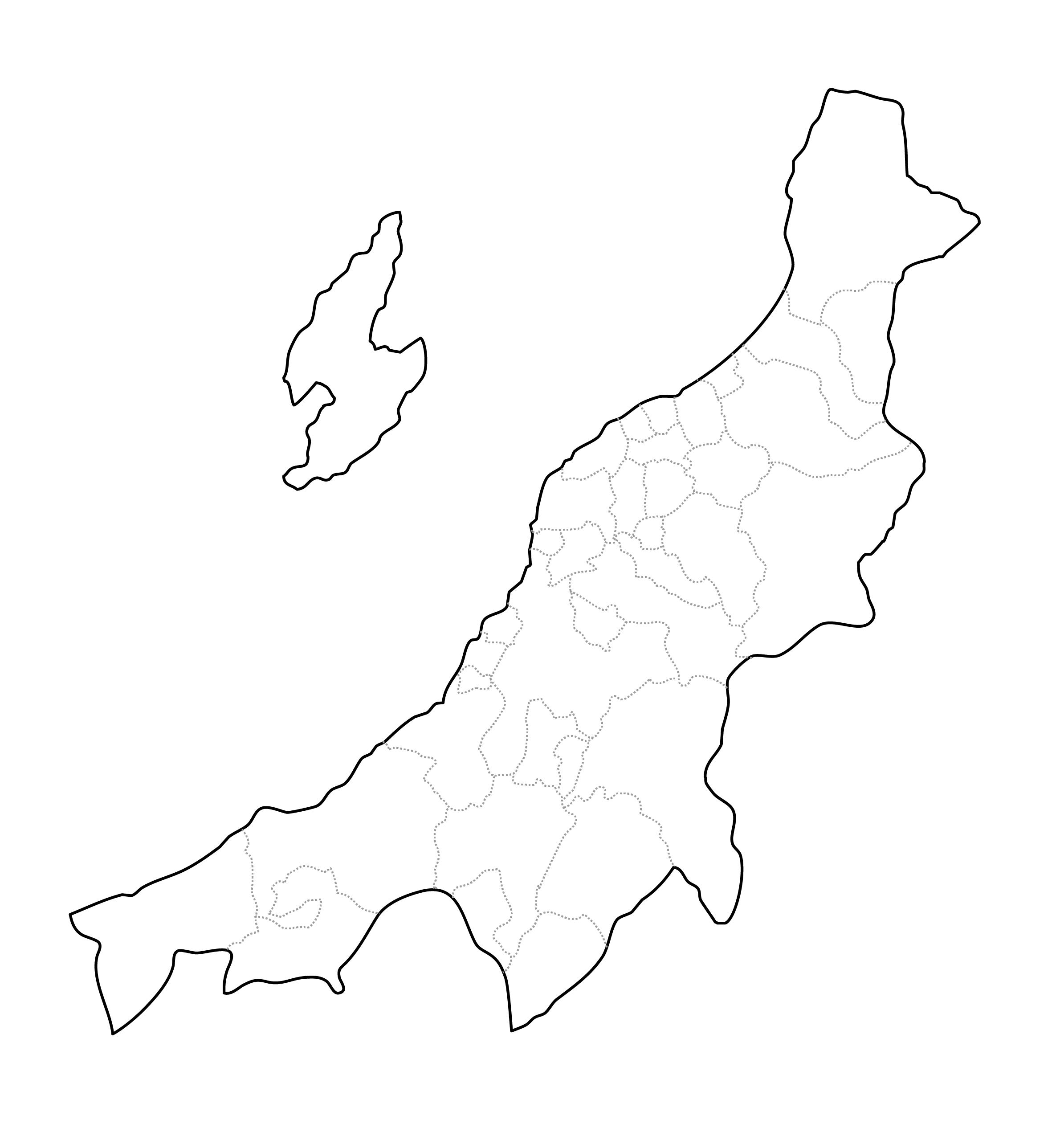 [白地図]新潟県・ラインあり・市区町村名なし