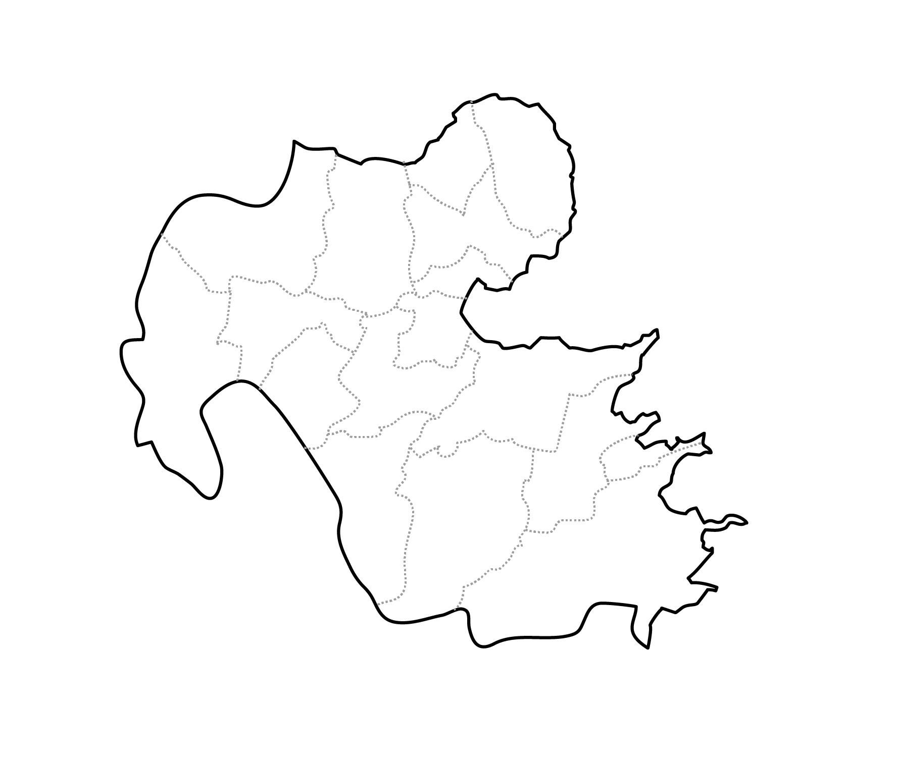 [白地図]大分県・ラインあり・市区町村名なし