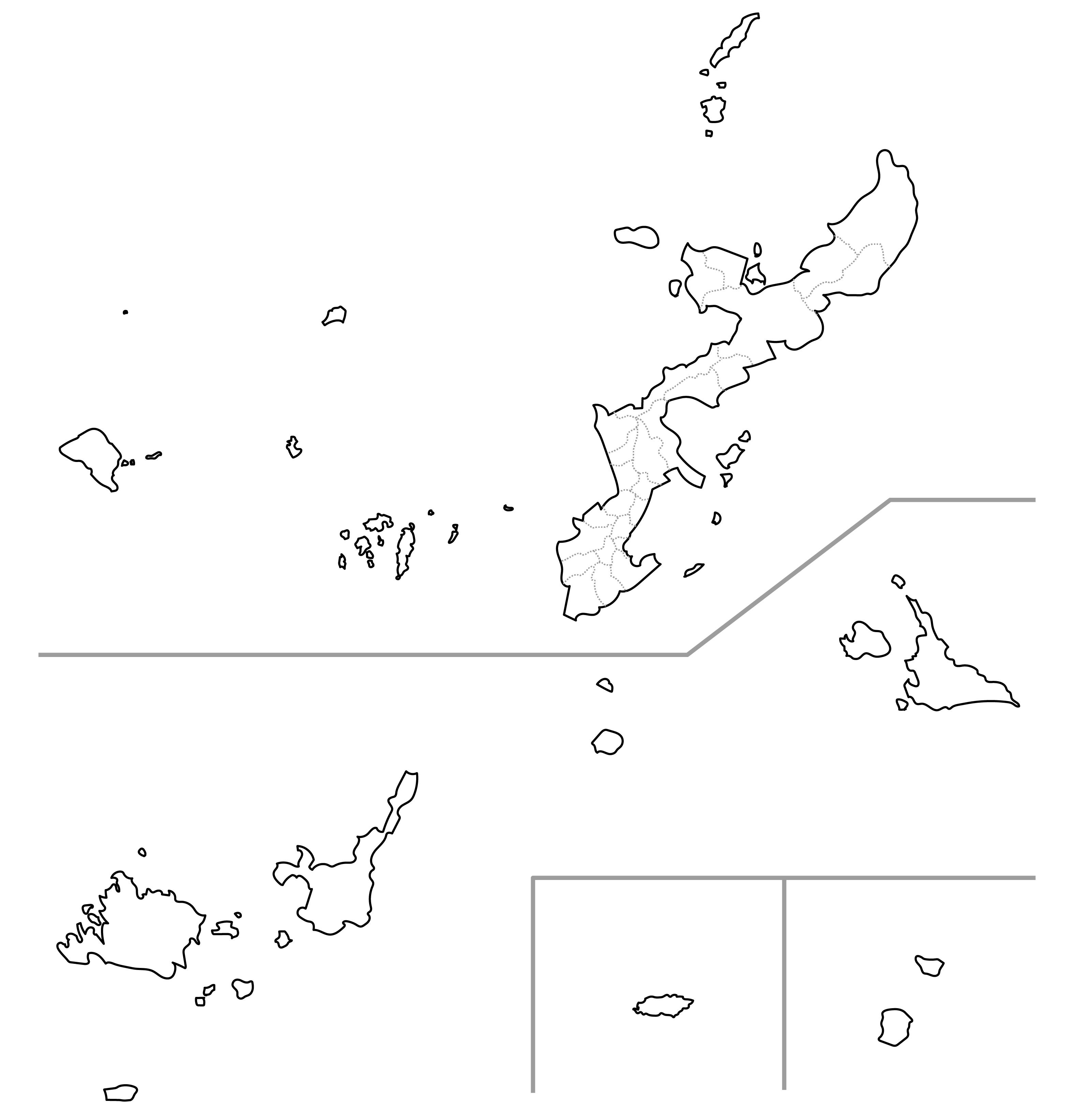[白地図]沖縄県・ラインあり・市区町村名なし