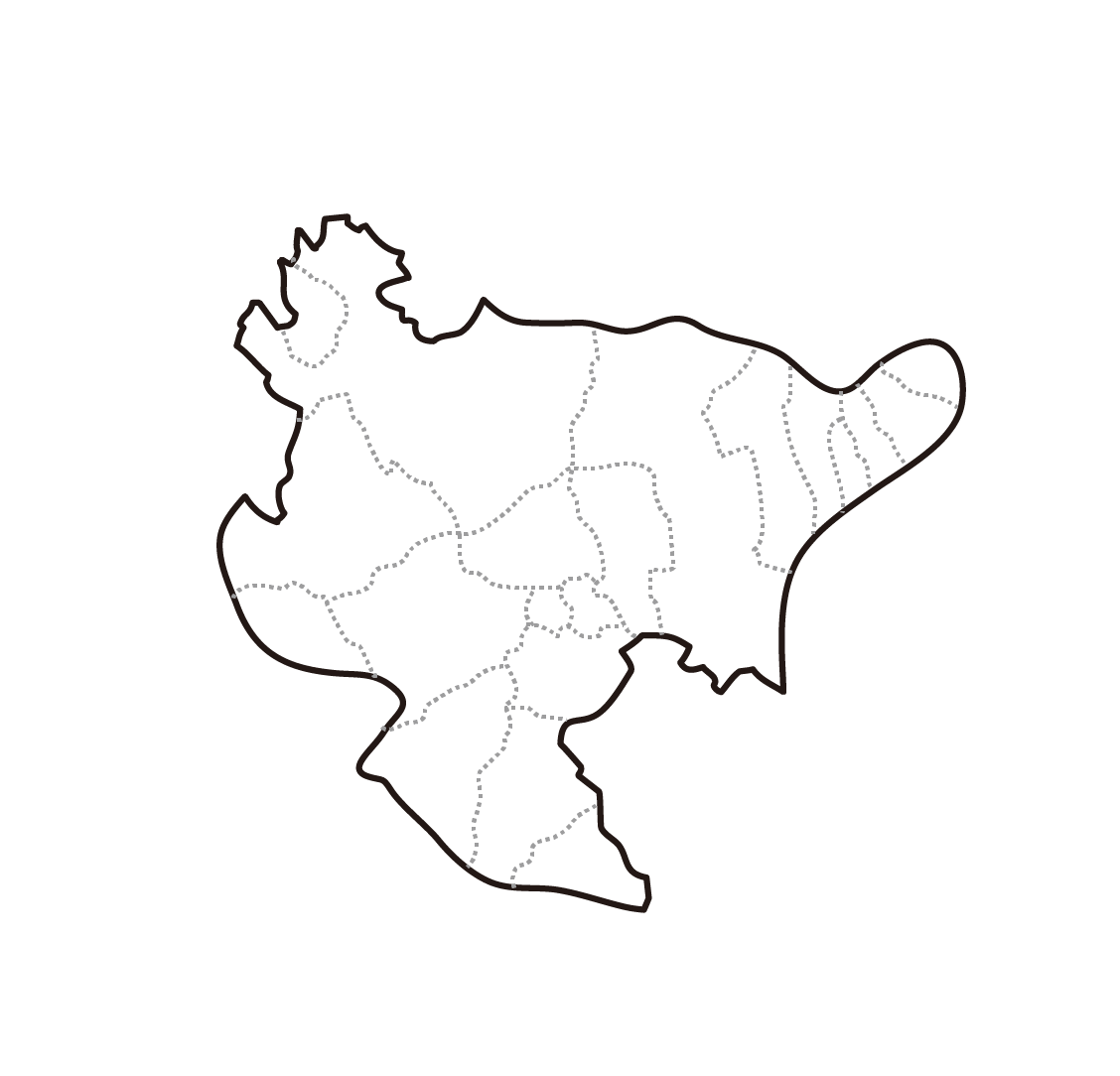 [白地図]佐賀県・ラインあり・市区町村名なし