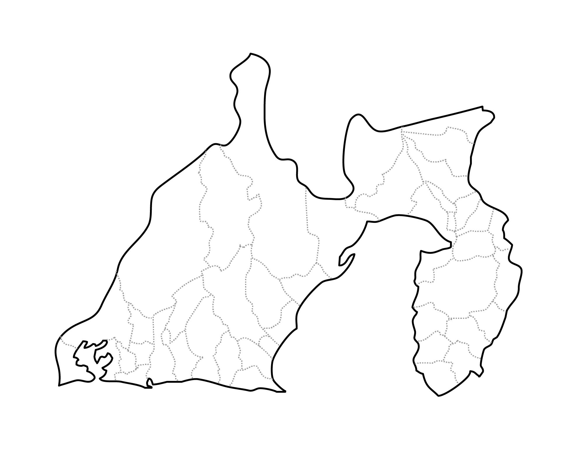 [白地図]静岡県・ラインあり・市区町村名なし