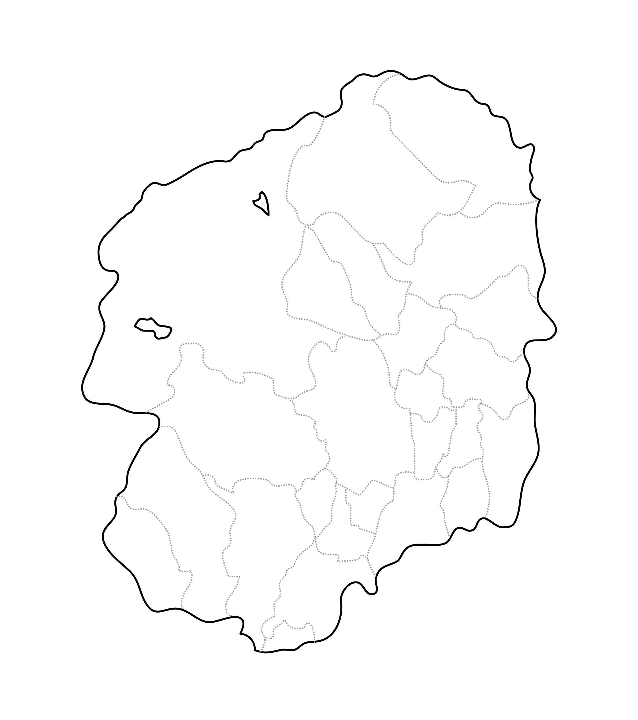 [白地図]栃木県・ラインあり・市区町村名なし