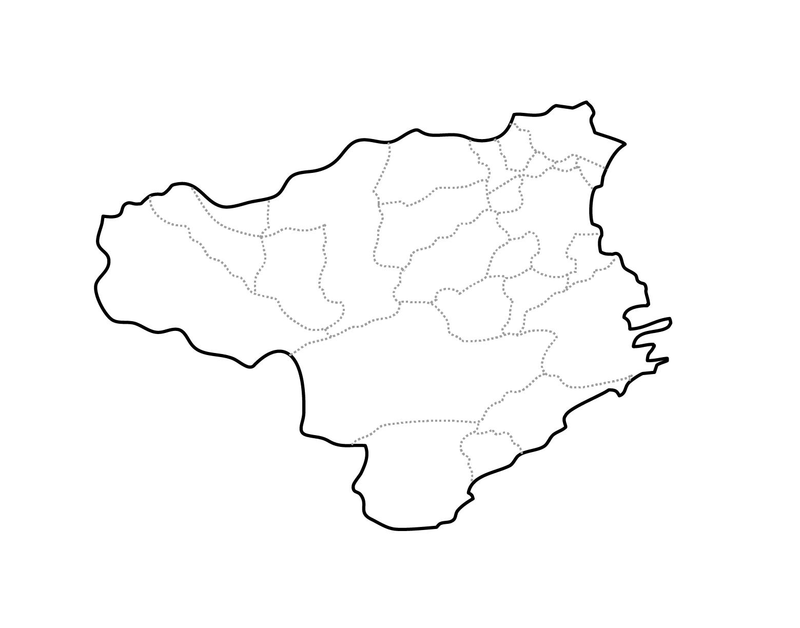 [白地図]徳島県・ラインあり・市区町村名なし