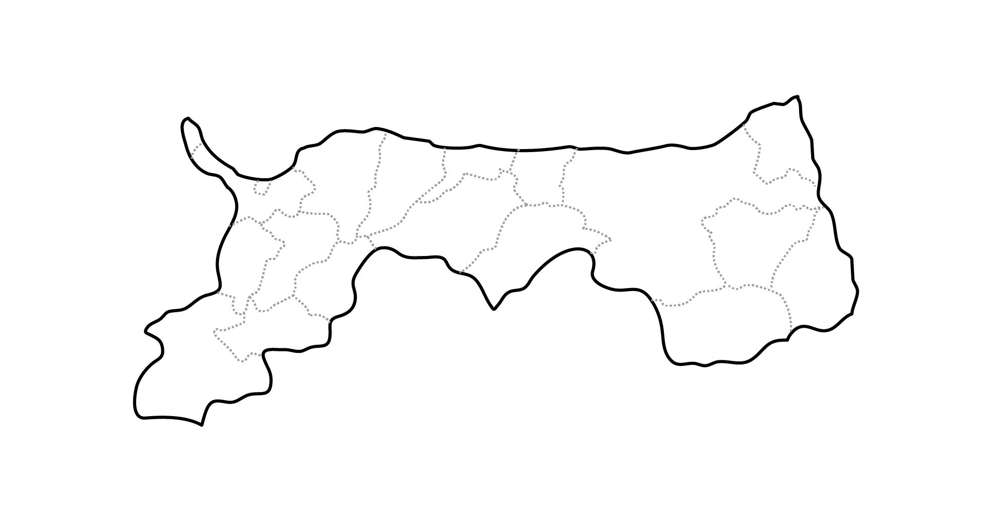 [白地図]鳥取県・ラインあり・市区町村名なし