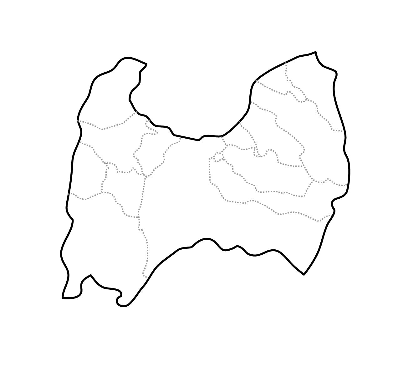 [白地図]富山県・ラインあり・市区町村名なし