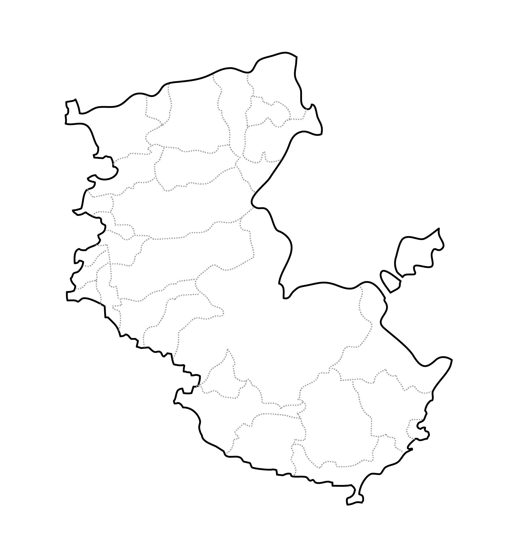 [白地図]和歌山県・ラインあり・市区町村名なし