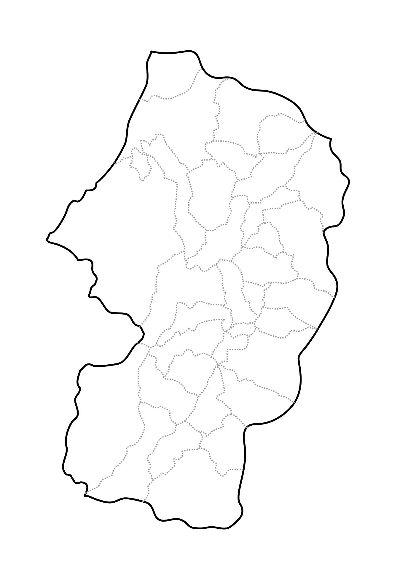 [白地図]山形県・ラインあり・市区町村名なし