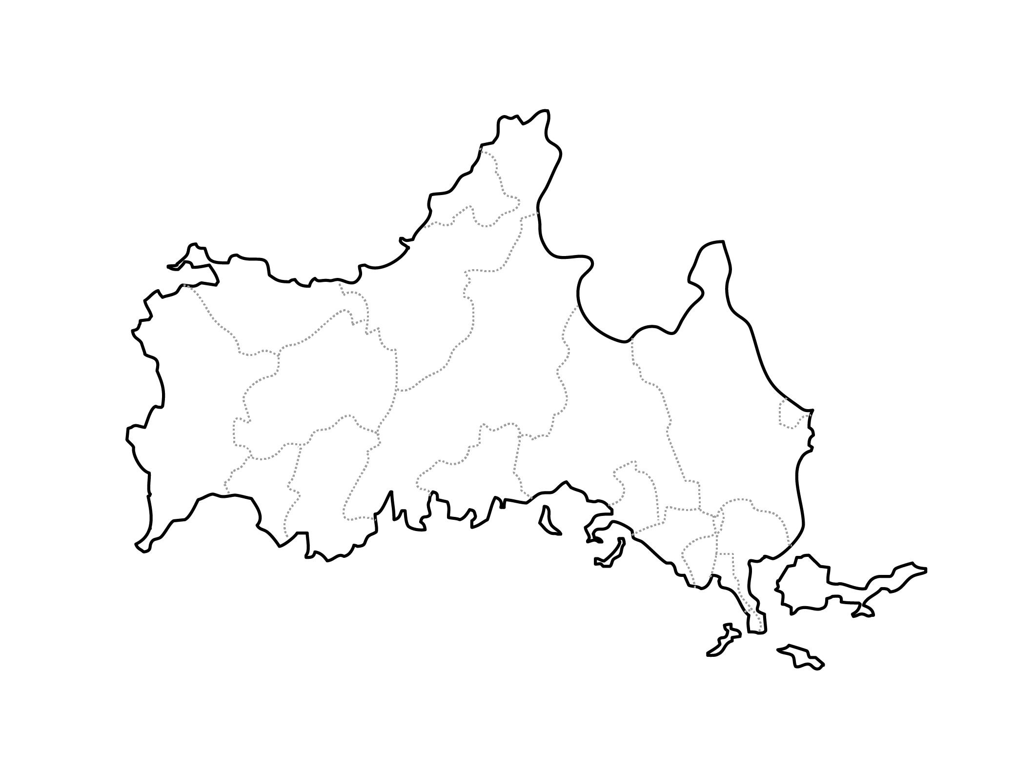 [白地図]山口県・ラインあり・市区町村名なし