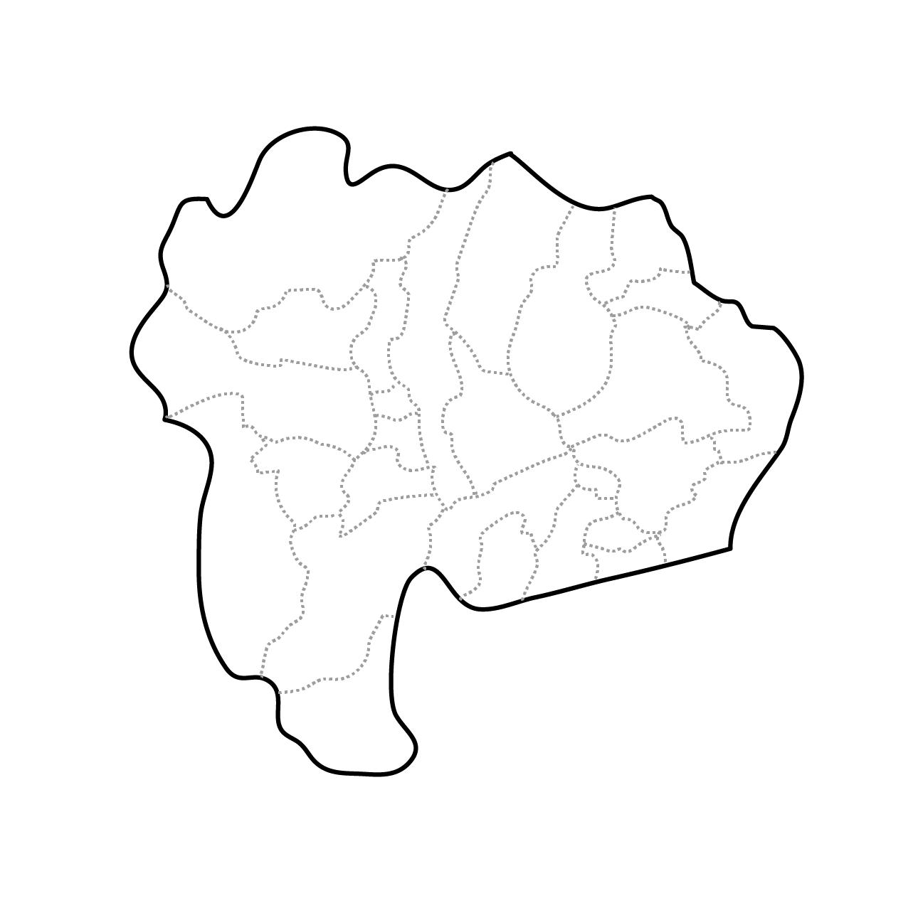 [白地図]山梨県・ラインあり・市区町村名なし