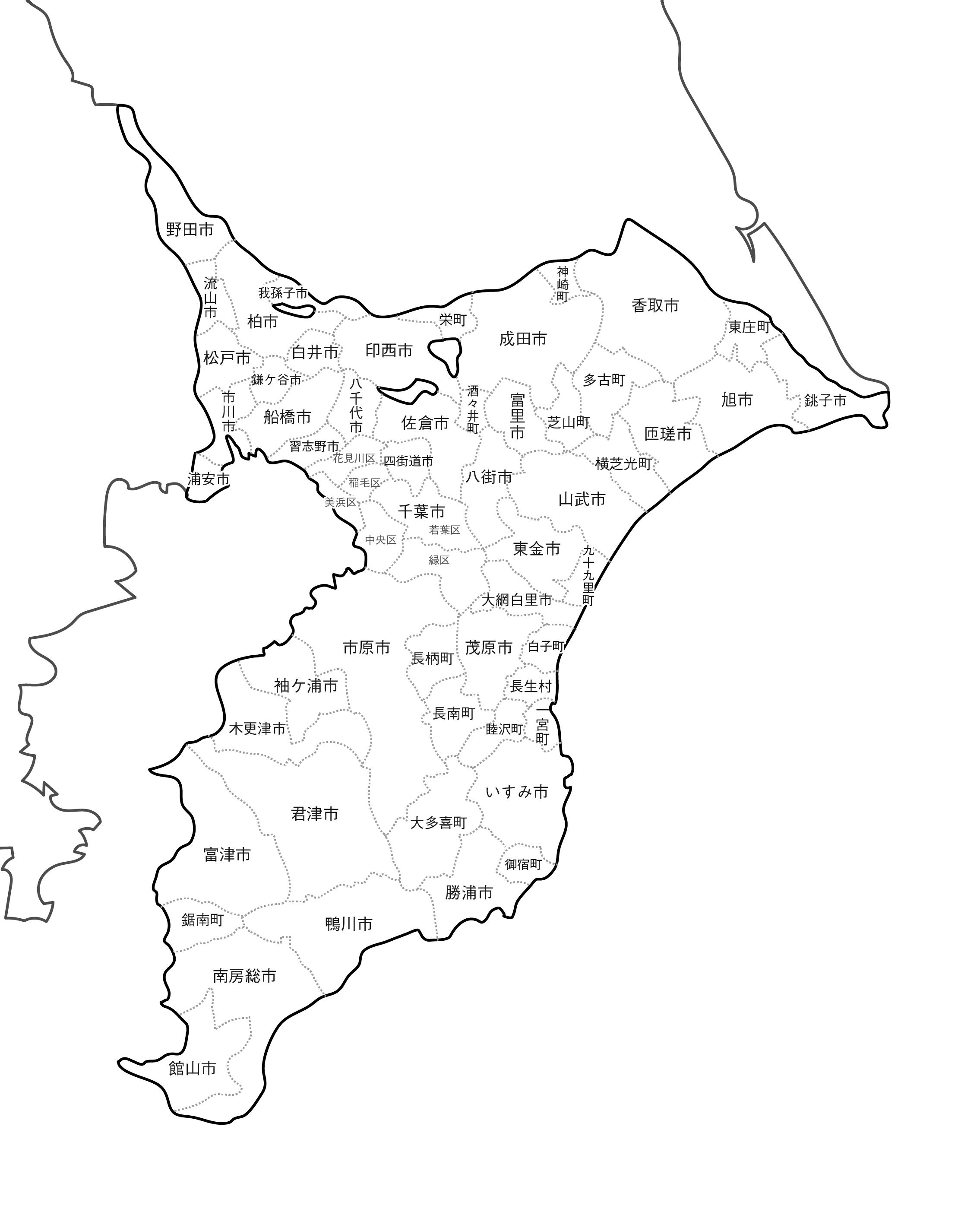 [白地図]千葉県・ラインあり・市区町村名あり・隣県あり
