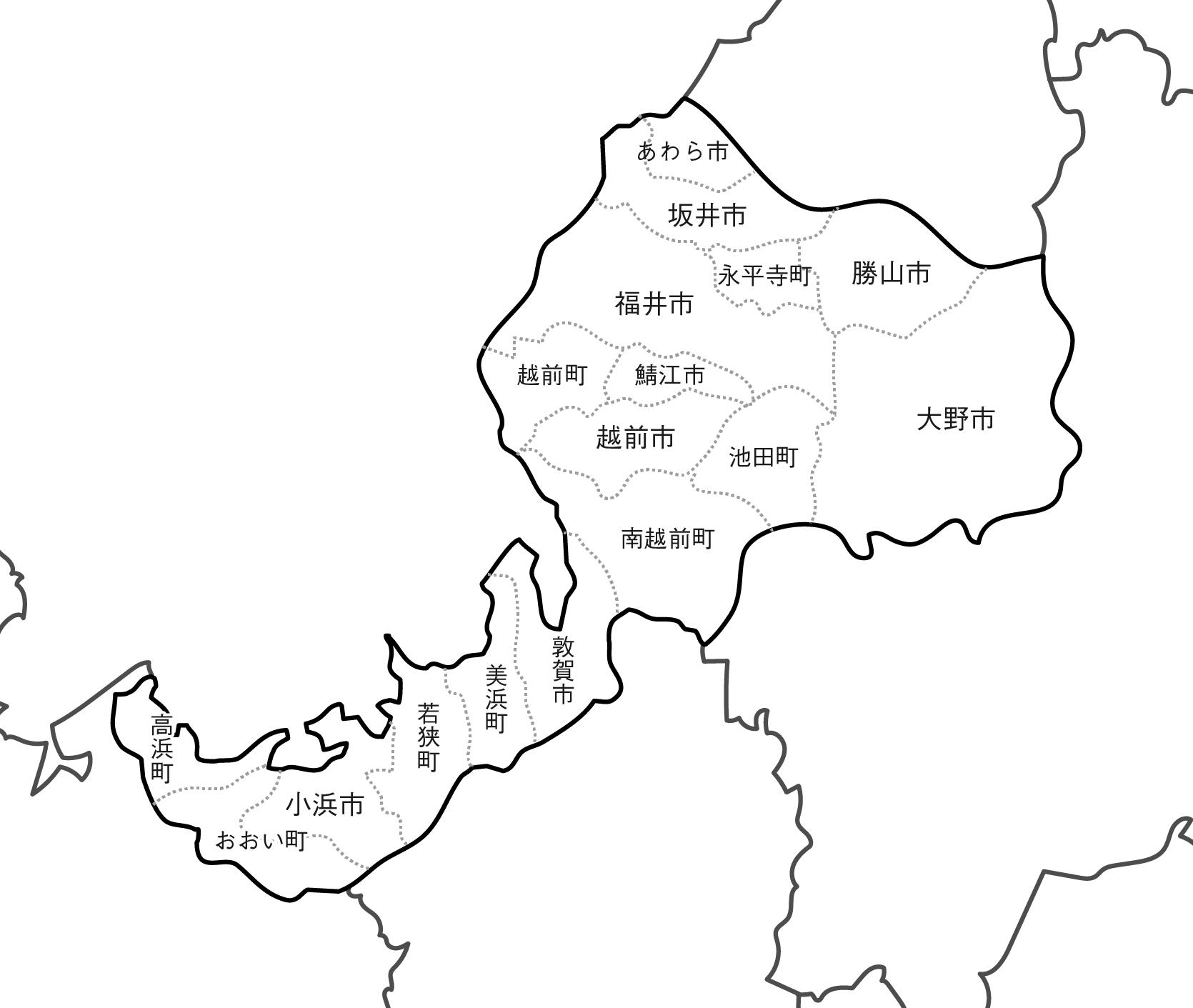[白地図]福井県・ラインあり・市区町村名あり・隣県あり