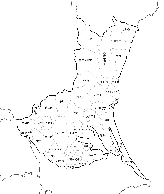 [白地図]茨城県・ラインあり・市区町村名あり・隣県あり