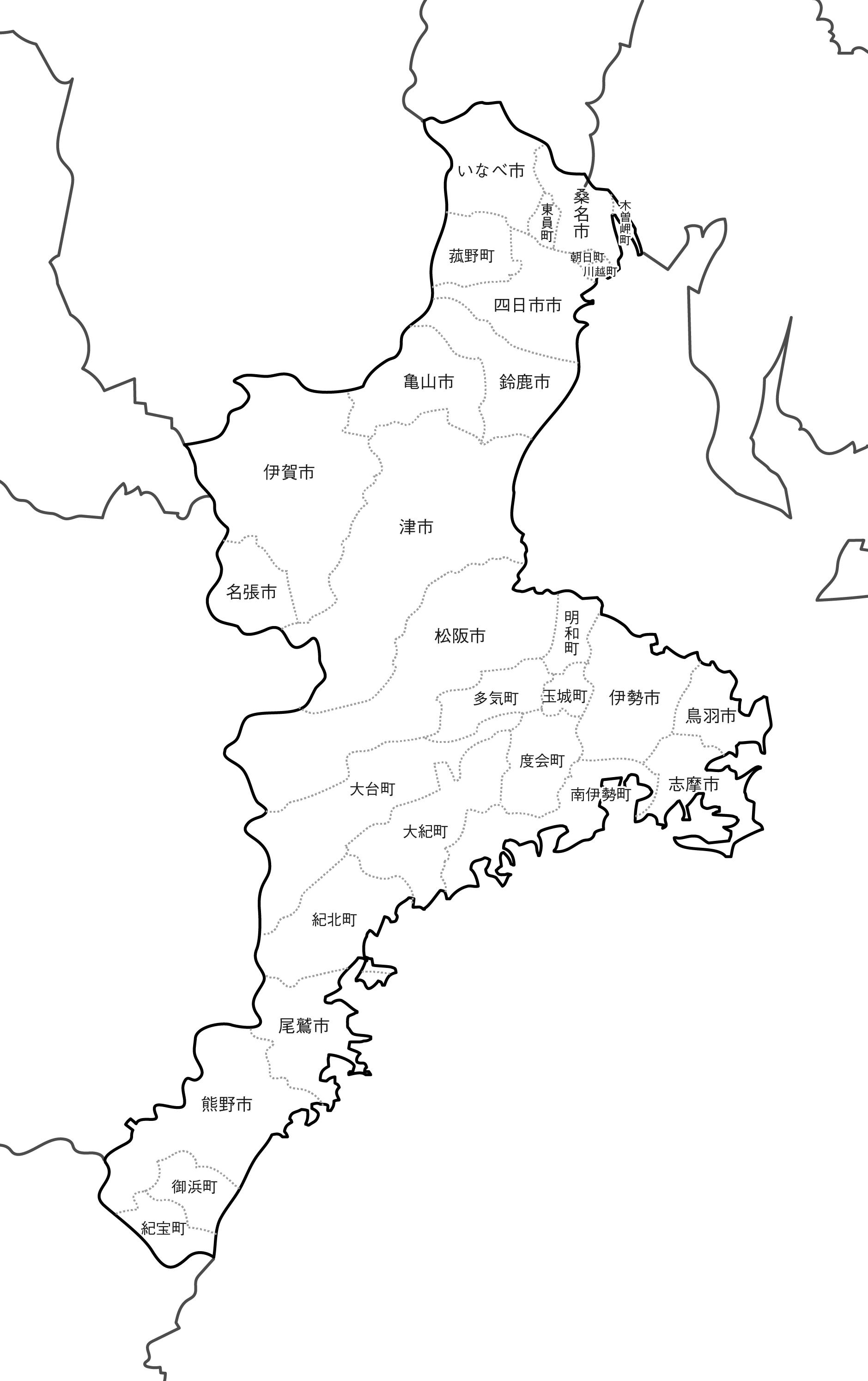 [白地図]三重県・ラインあり・市区町村名あり・隣県あり