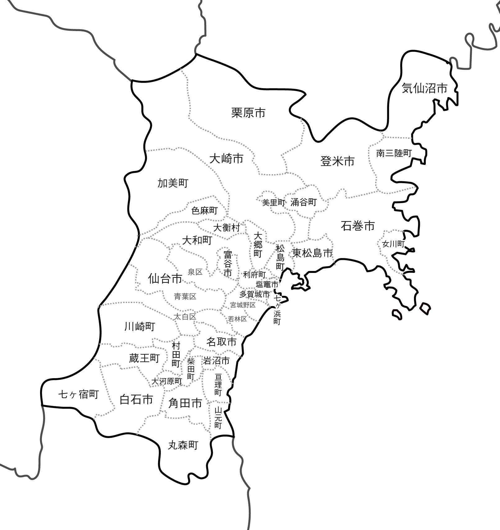[白地図]宮城県・ラインあり・市区町村名あり・隣県あり