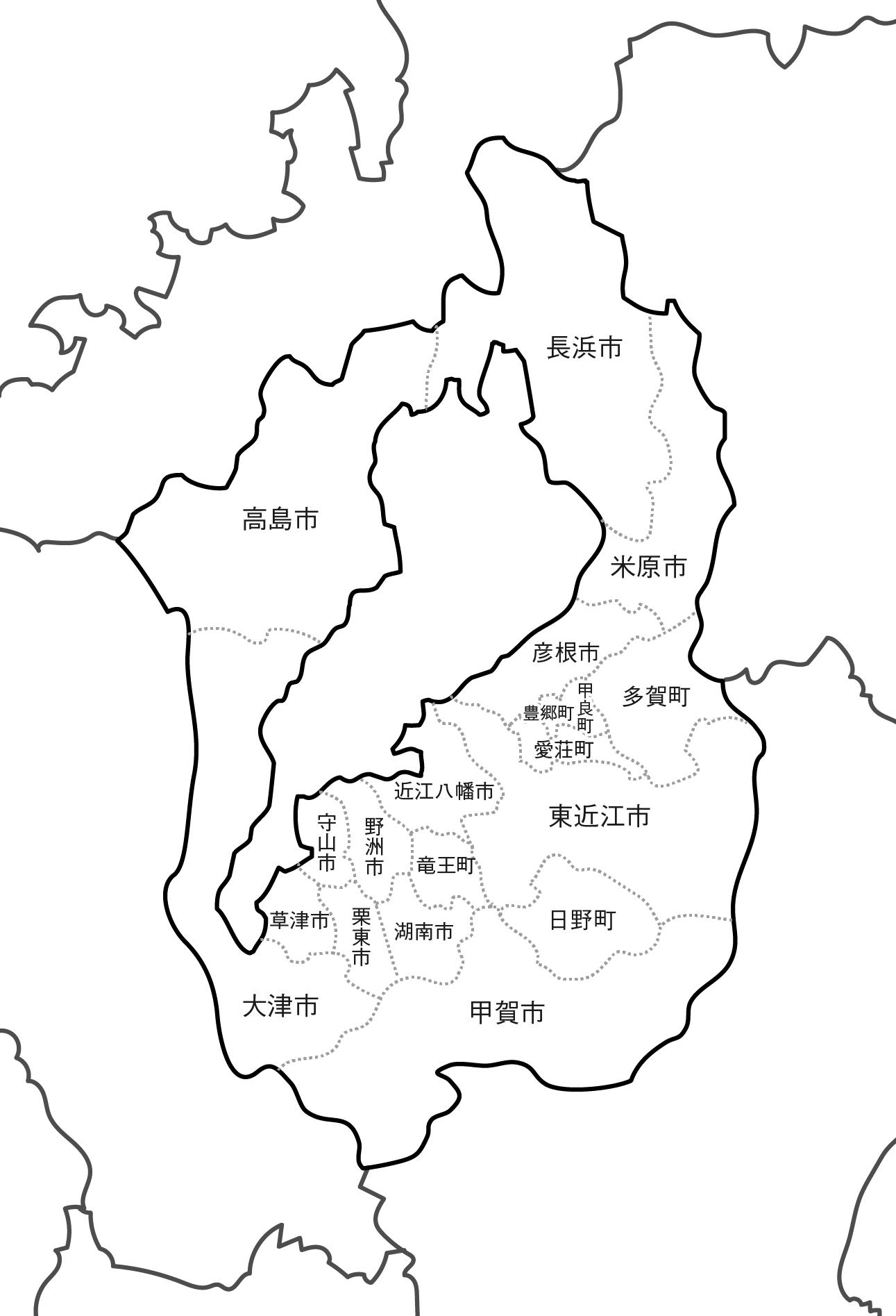 [白地図]滋賀県・ラインあり・市区町村名あり・隣県あり
