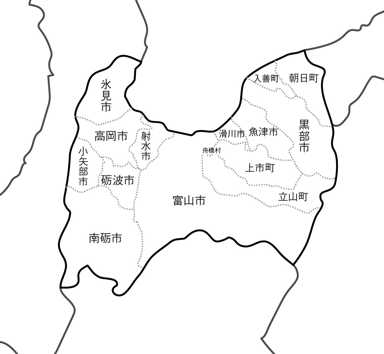 [白地図]富山県・ラインあり・市区町村名あり・隣県あり