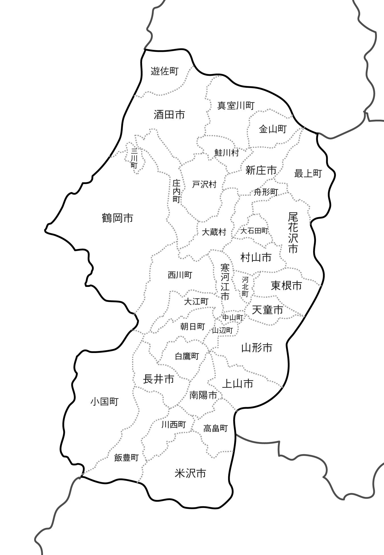 [白地図]山形県・ラインあり・市区町村名あり・隣県あり