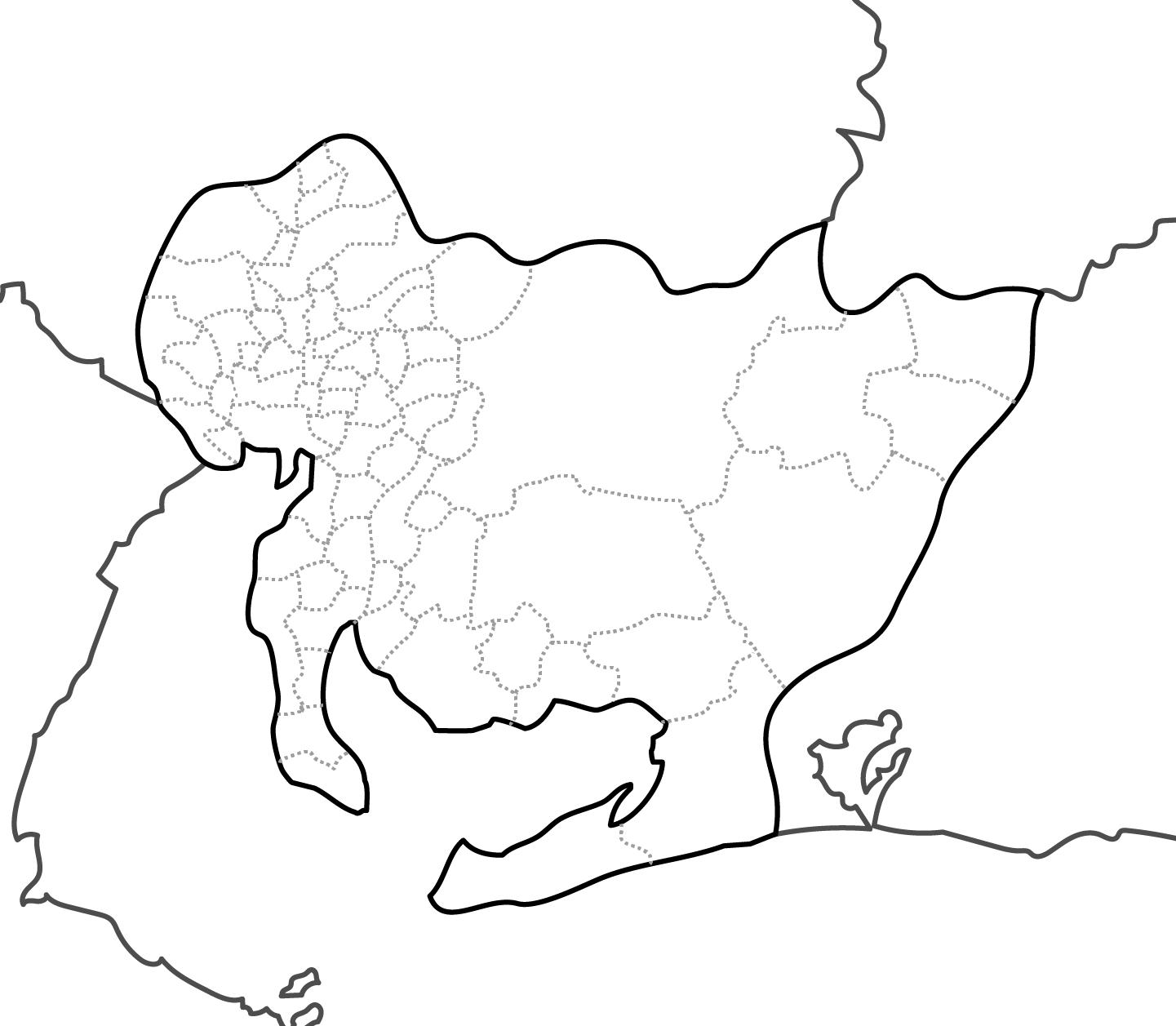 [白地図]愛知県・ラインあり・市区町村名なし・隣県なし
