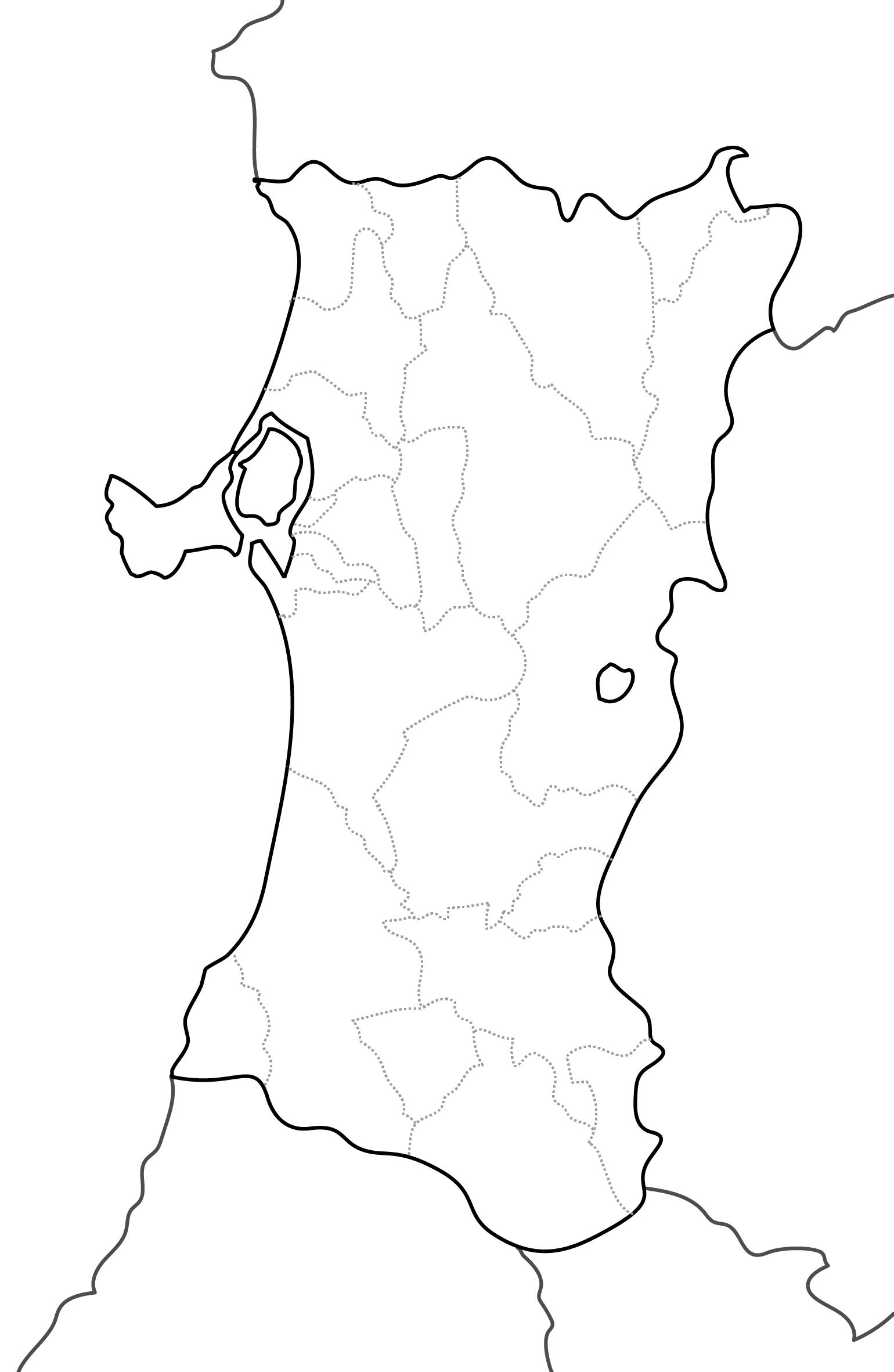 [白地図]秋田県・ラインあり・市区町村名なし・隣県なし