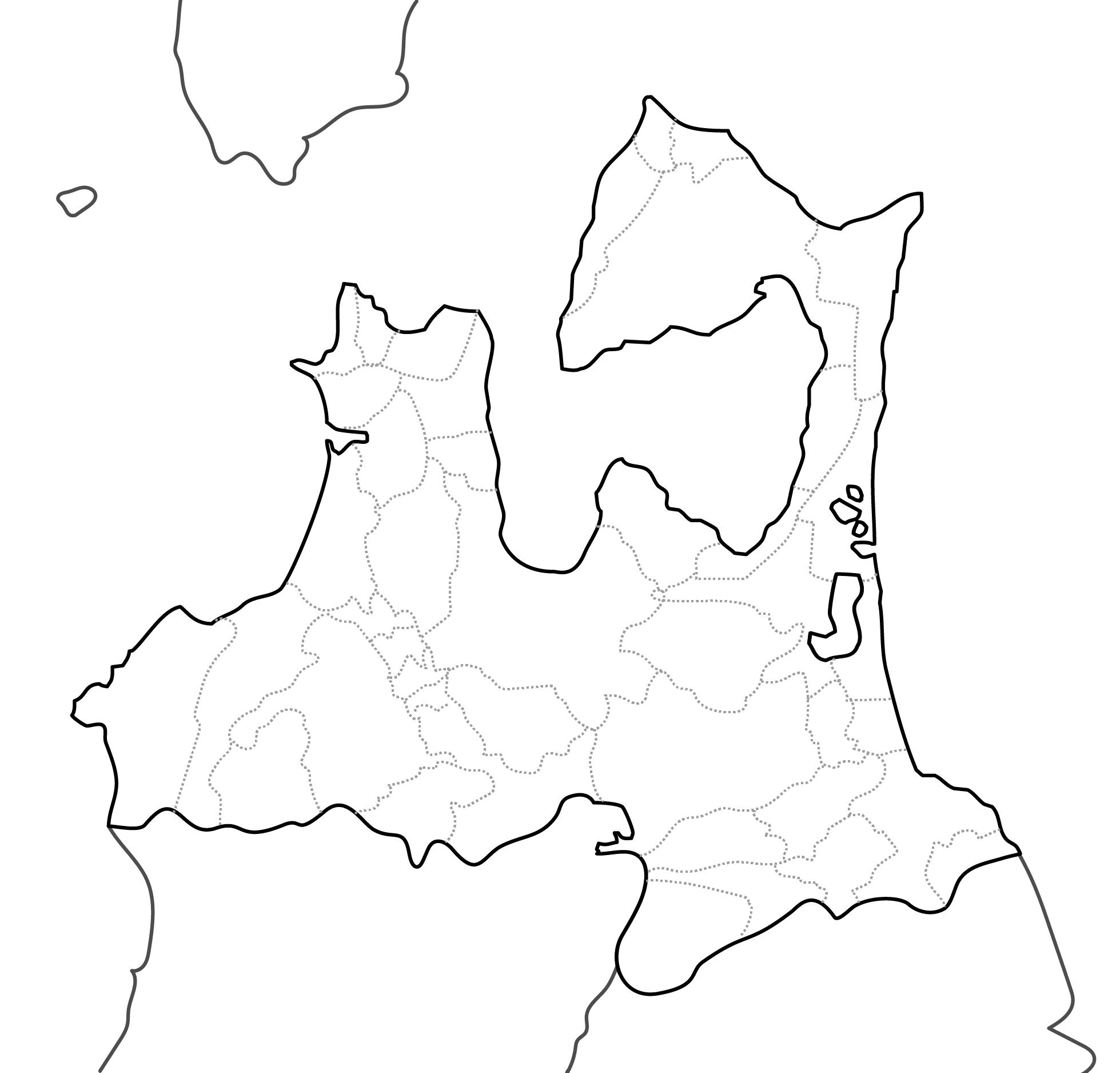 [白地図]青森県・ラインあり・市区町村名なし・隣県なし