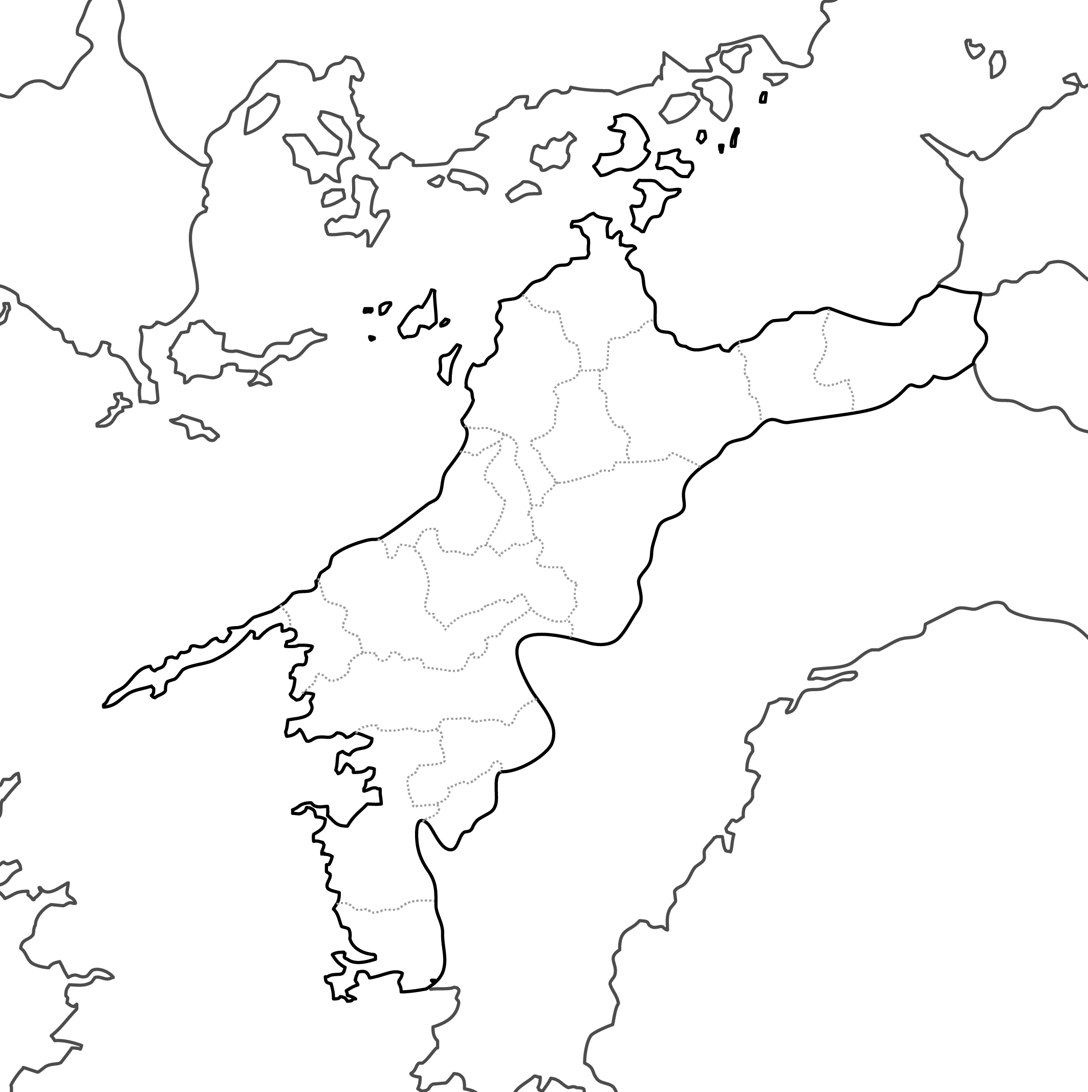 [白地図]愛媛県・ラインあり・市区町村名なし・隣県なし