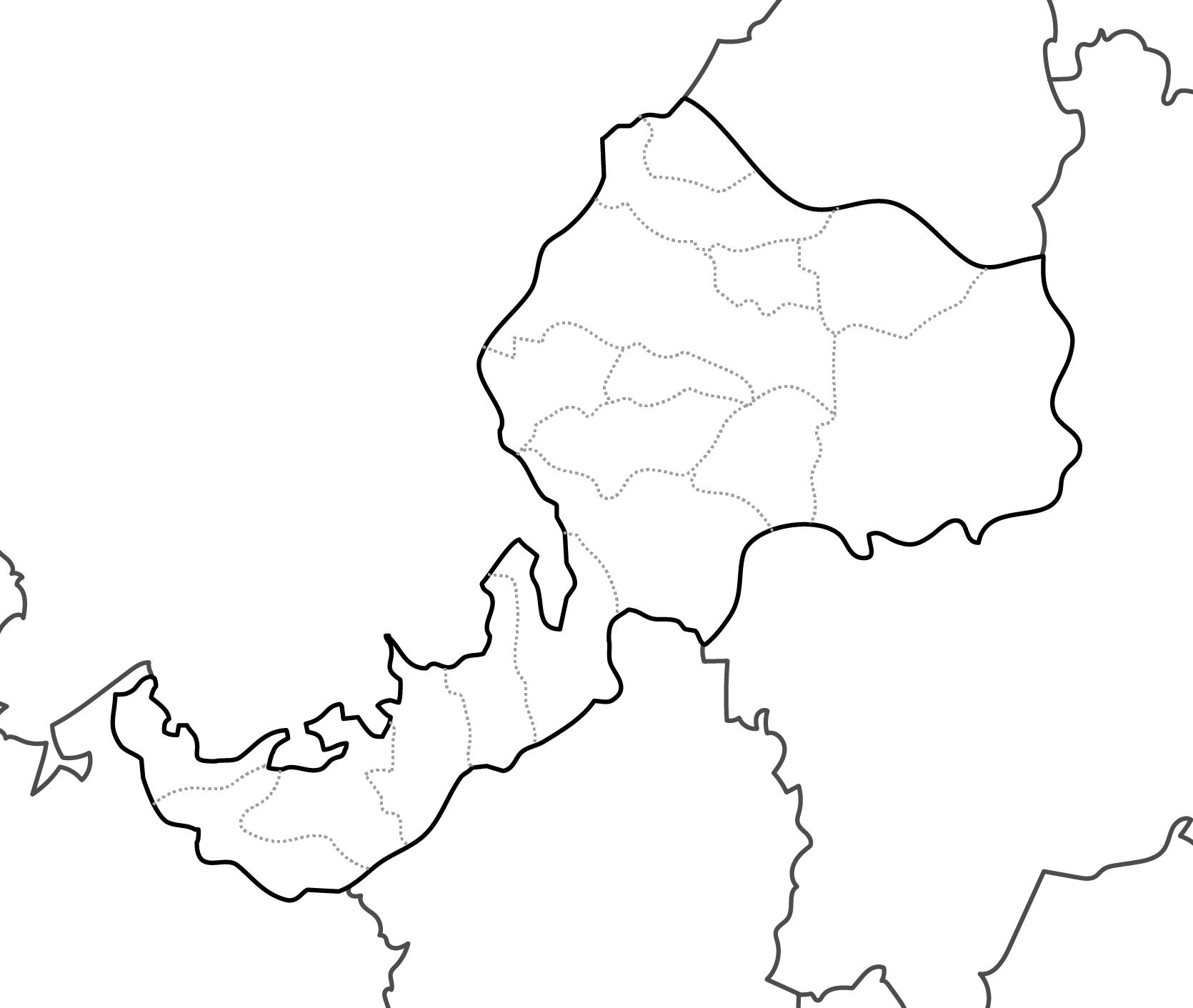 [白地図]福井県・ラインあり・市区町村名なし・隣県なし