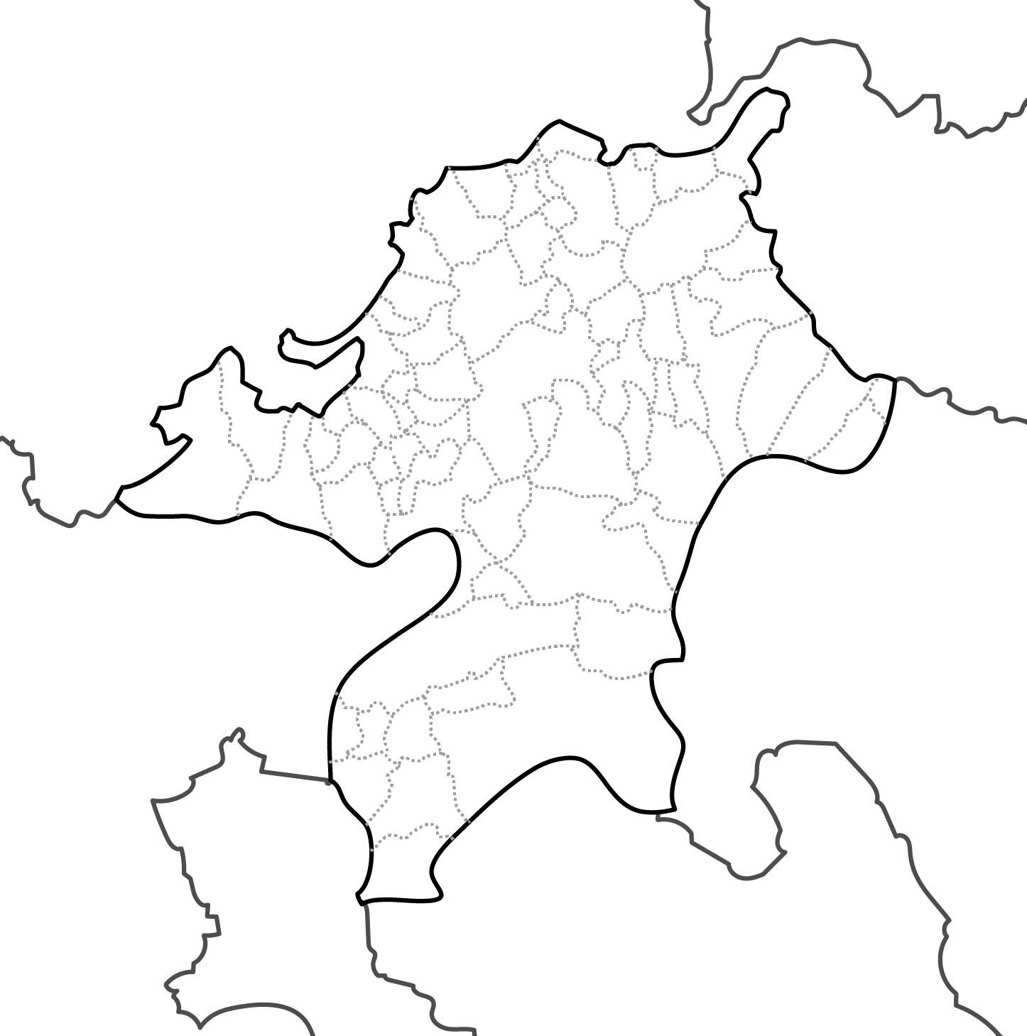[白地図]福岡県・ラインあり・市区町村名なし・隣県なし