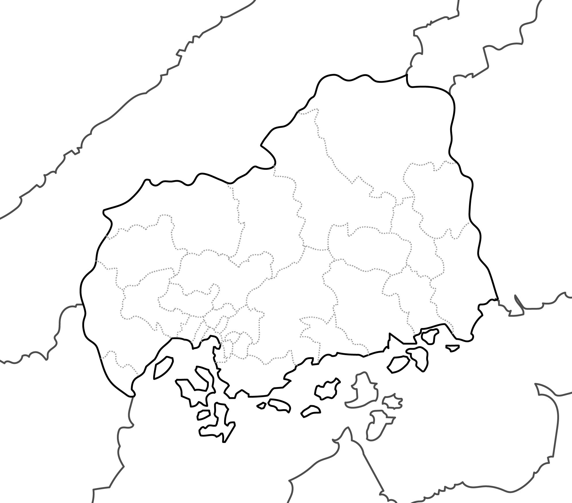 [白地図]広島県・ラインあり・市区町村名なし・隣県なし
