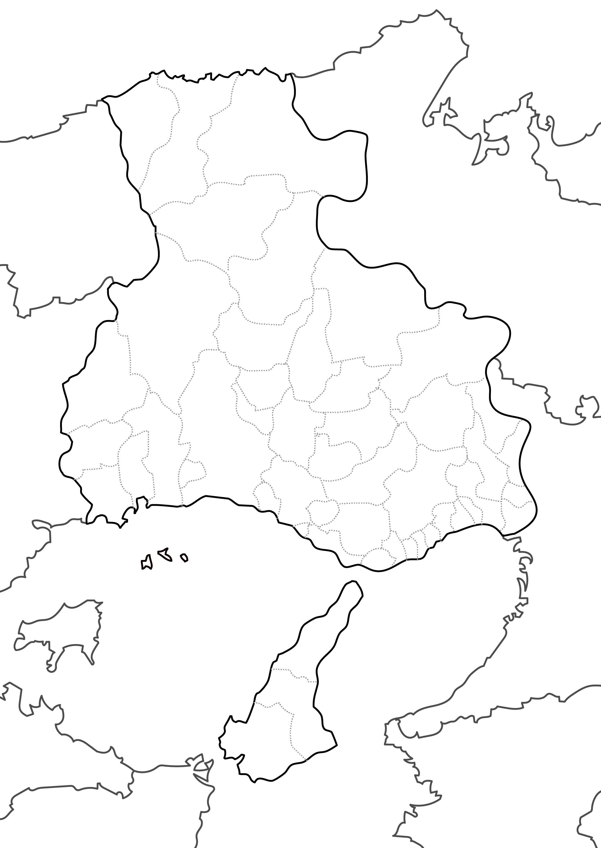 [白地図]兵庫県・ラインあり・市区町村名なし・隣県なし