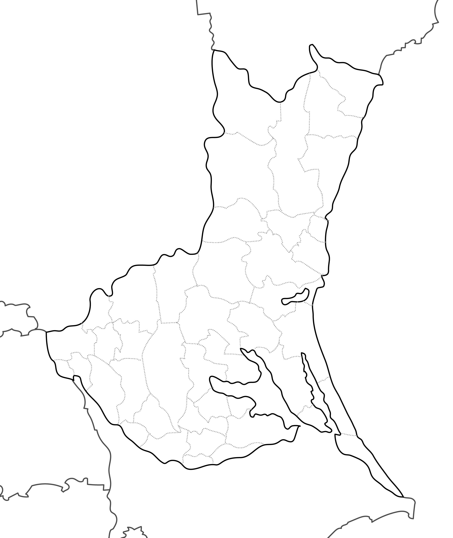 [白地図]茨城県・ラインあり・市区町村名なし・隣県なし