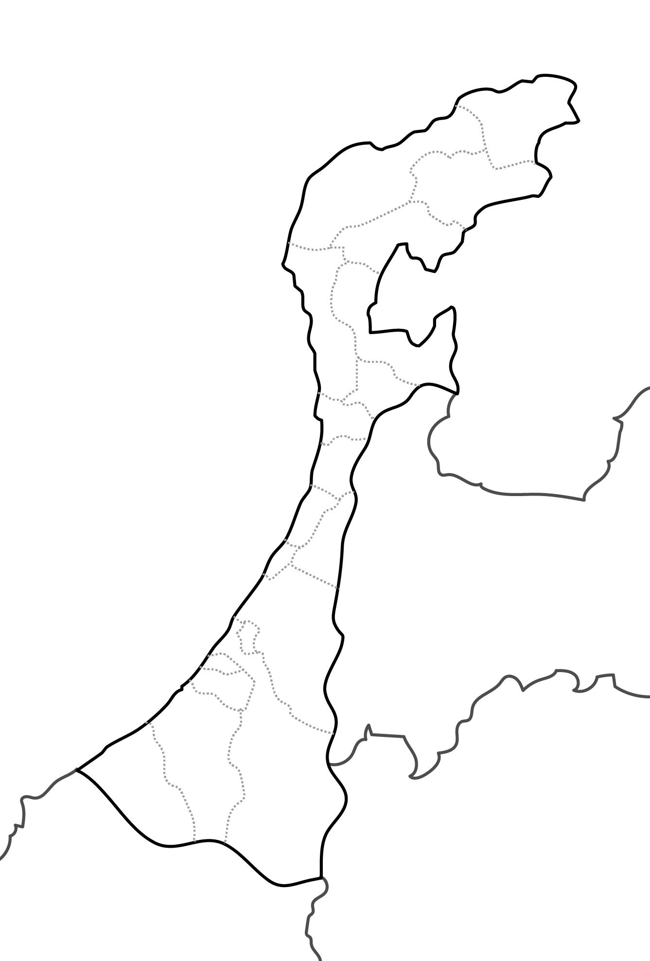 [白地図]石川県・ラインあり・市区町村名なし・隣県なし