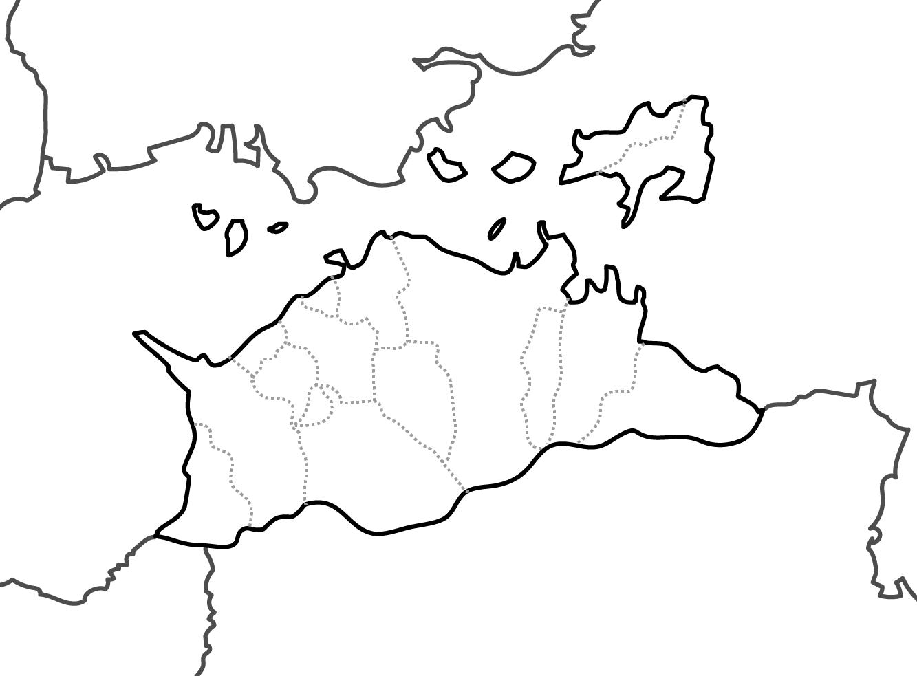 [白地図]香川県・ラインあり・市区町村名なし・隣県なし